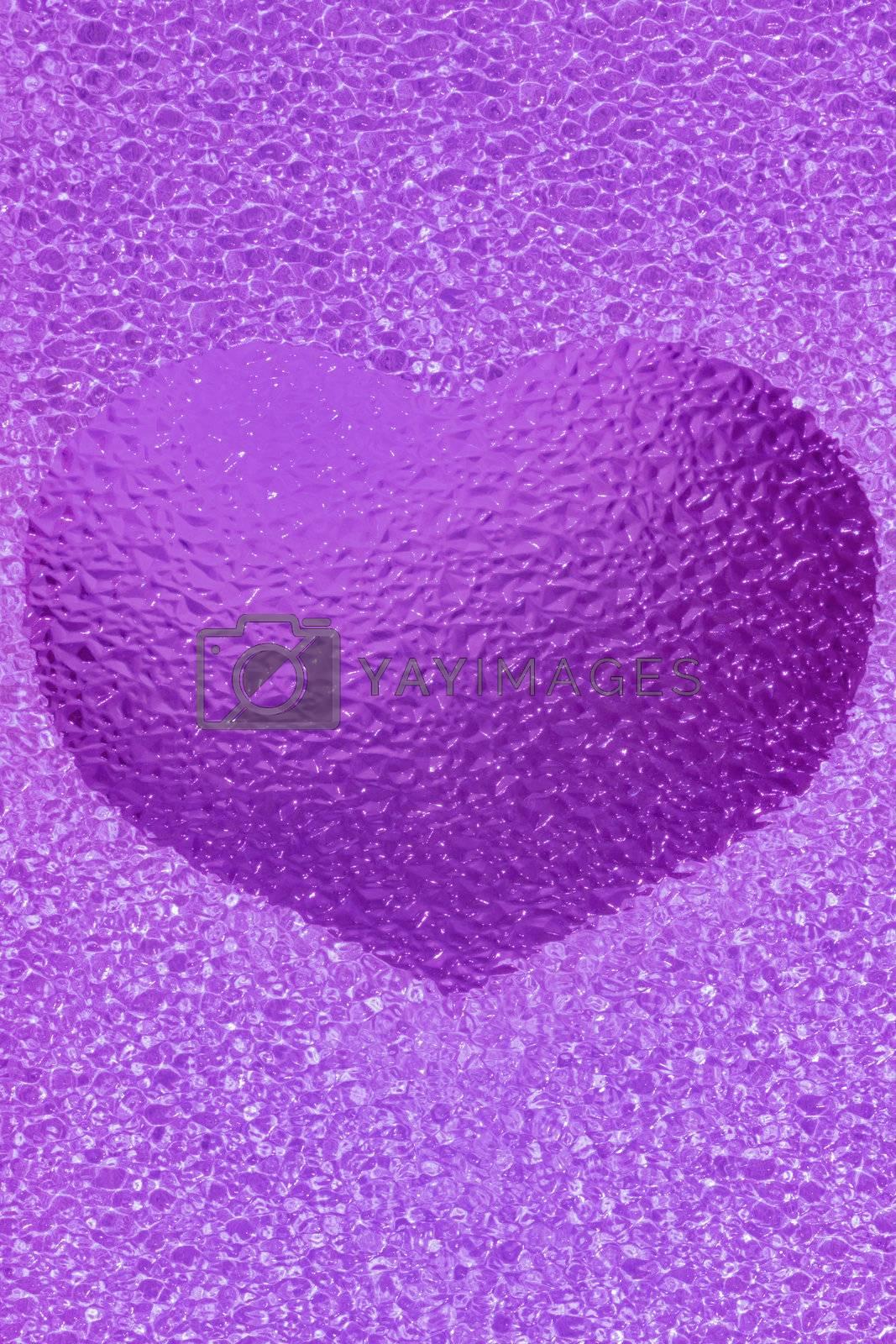 frozen golden heart with crystals in 3d