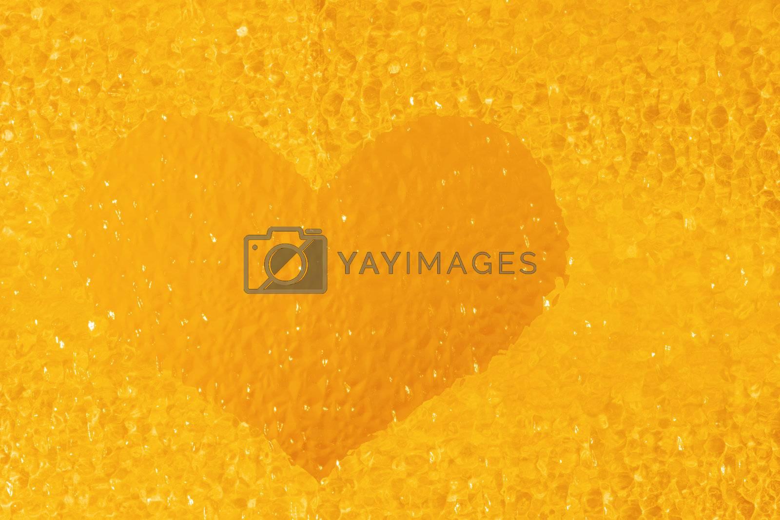 closeup shot of colorful golden crystal heart