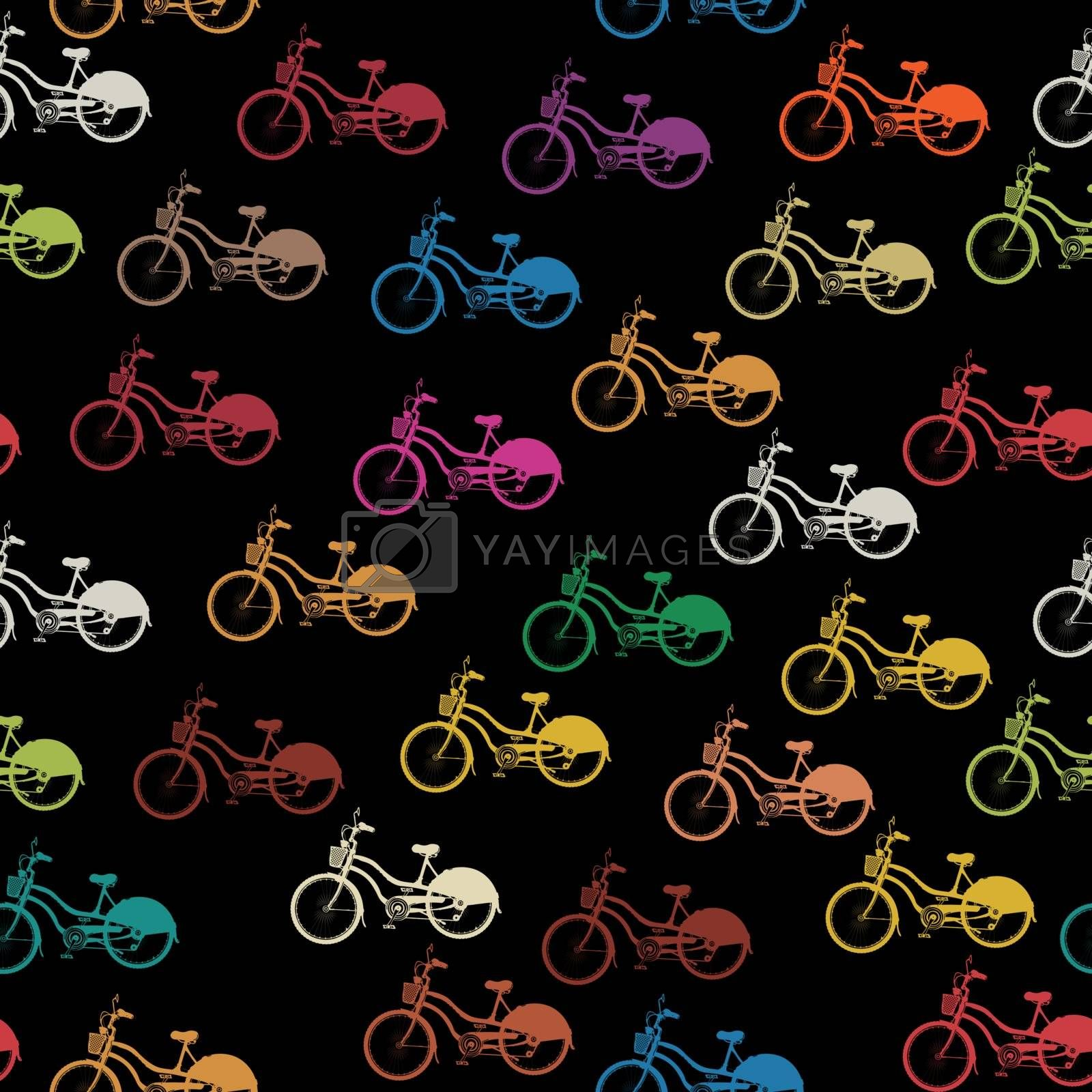 Seamless background pattern with colored bicycles