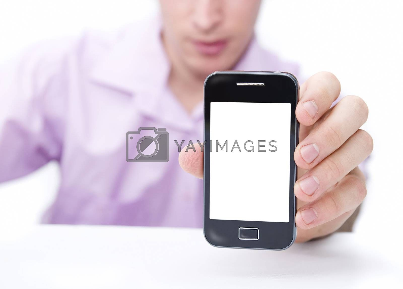 young business man showing mobile smart phone