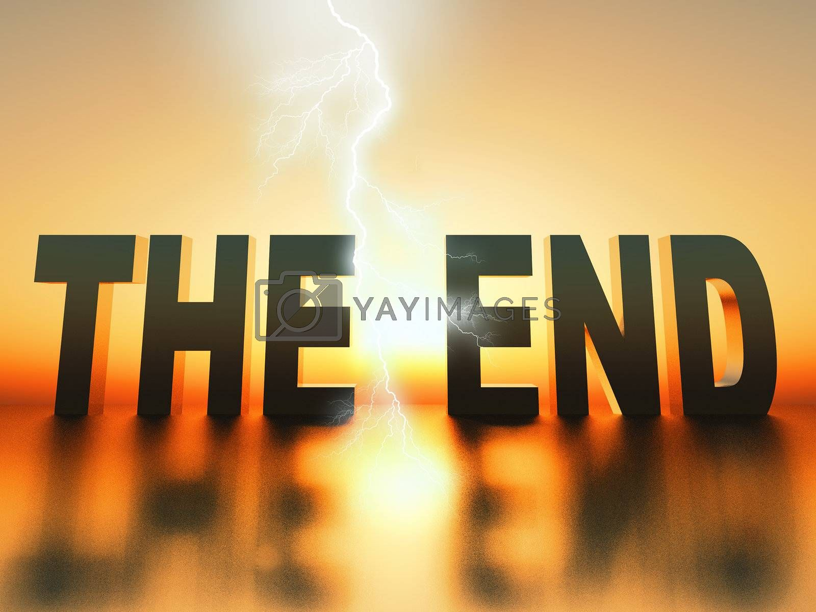 """the word """"the end"""" made  in 3 D letters"""