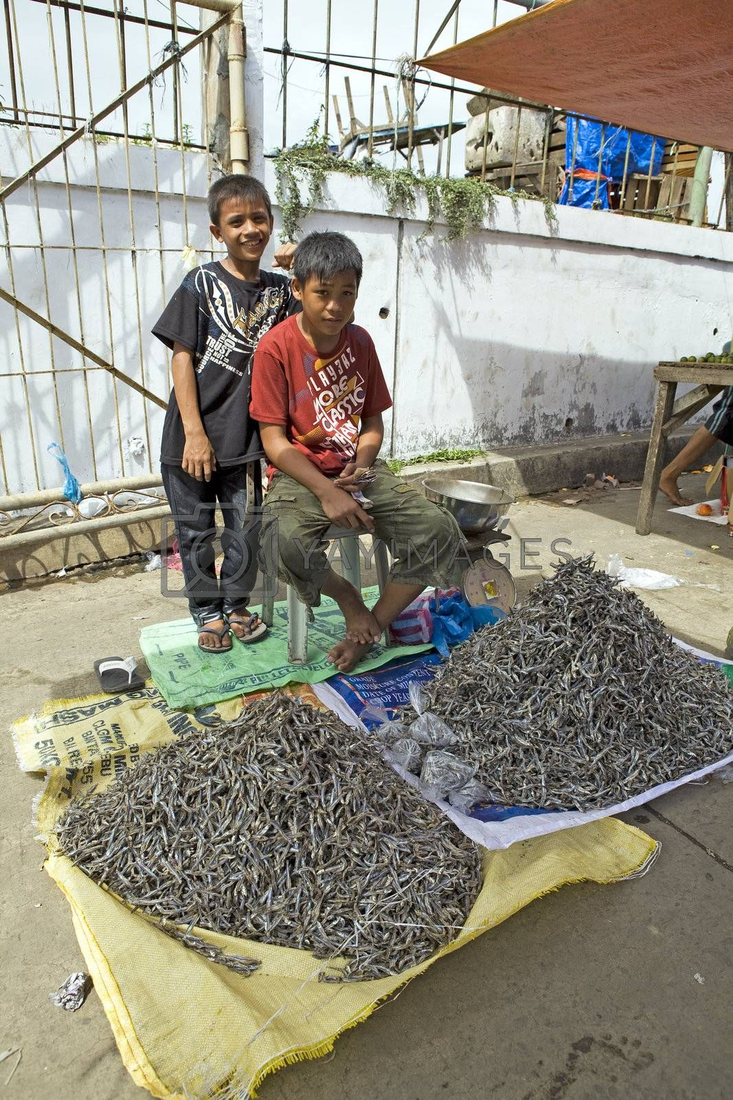 March 2012 - Capiz City, Negros Oriental, Philippines - Two young Filipino boys help thier families work selling dried fish at the local public market in Capiz City.