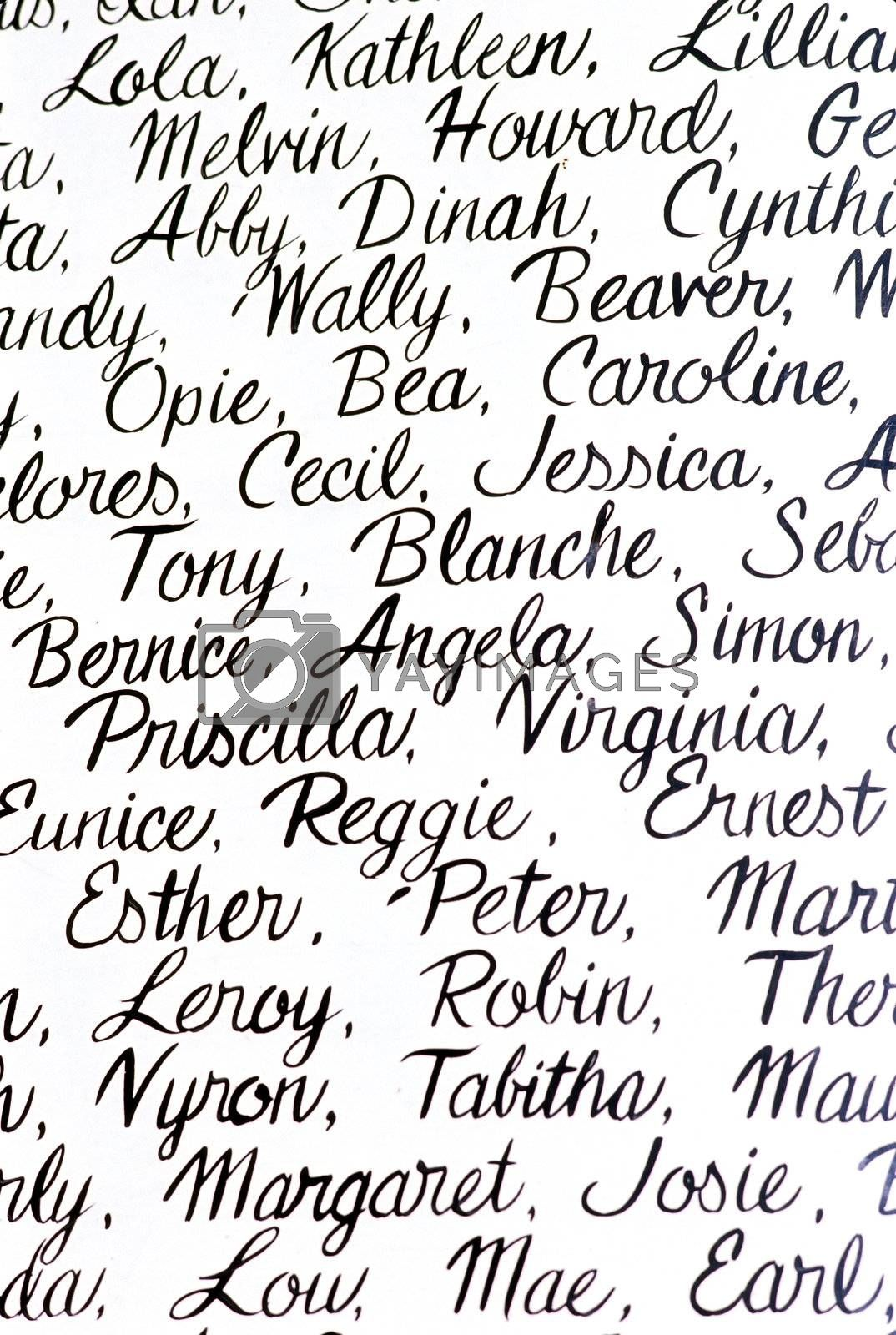 White background with people names written in cursive handwriting.