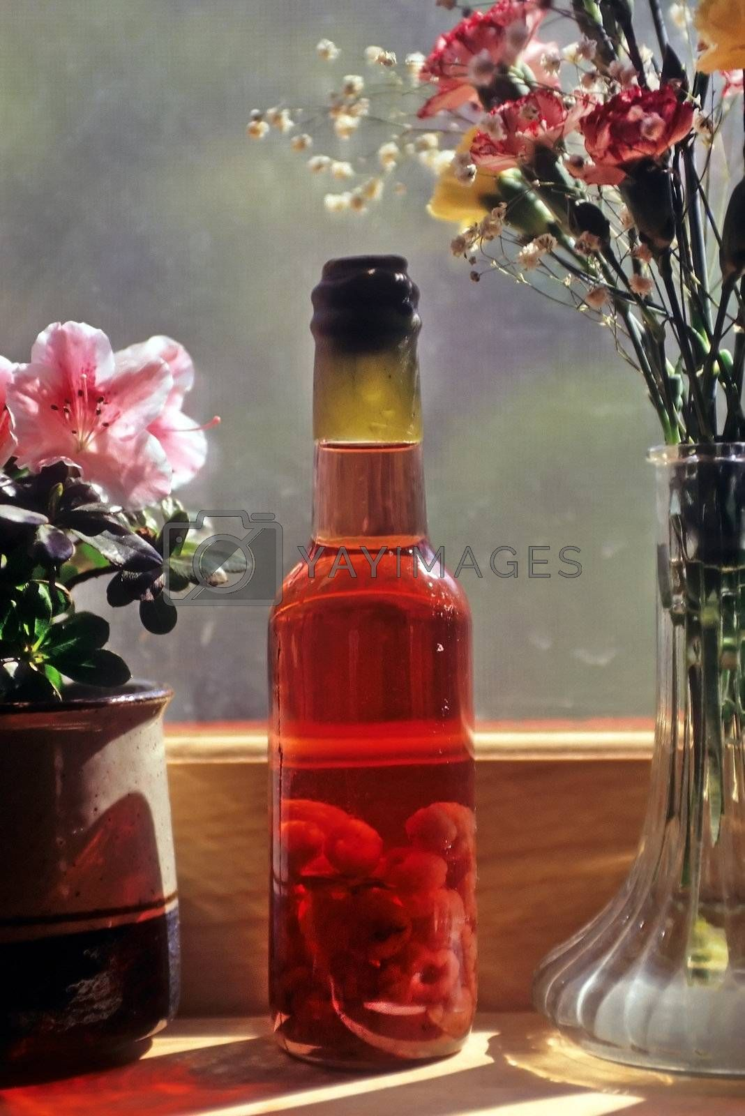 One bottle of raspberry vinegar with a wax stopper sitting on a window sill next to two containers of flowers.