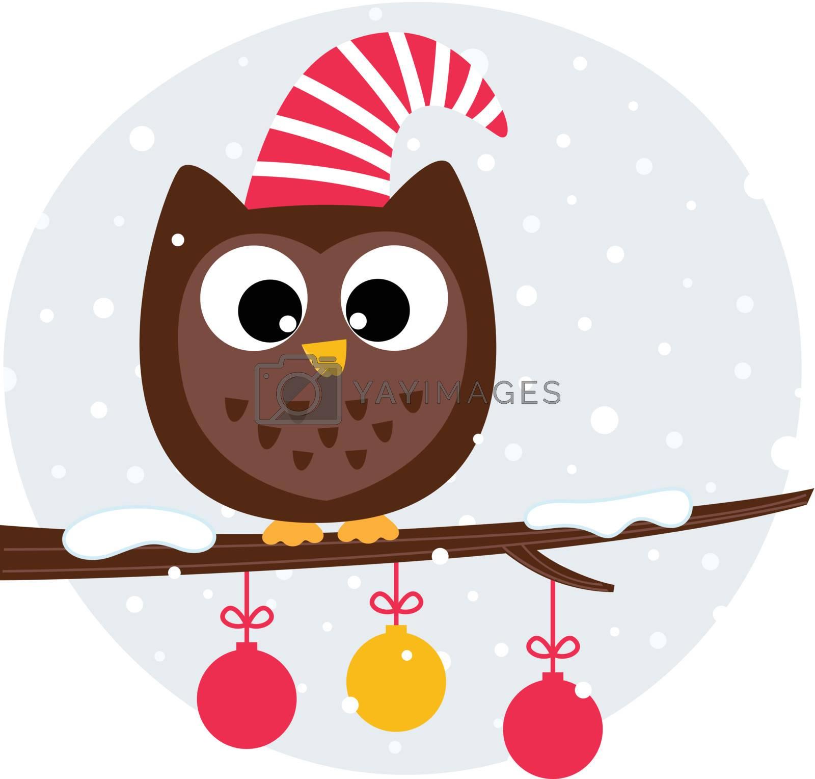 Winter cartoon Owl in santa hat. Vector Illustration