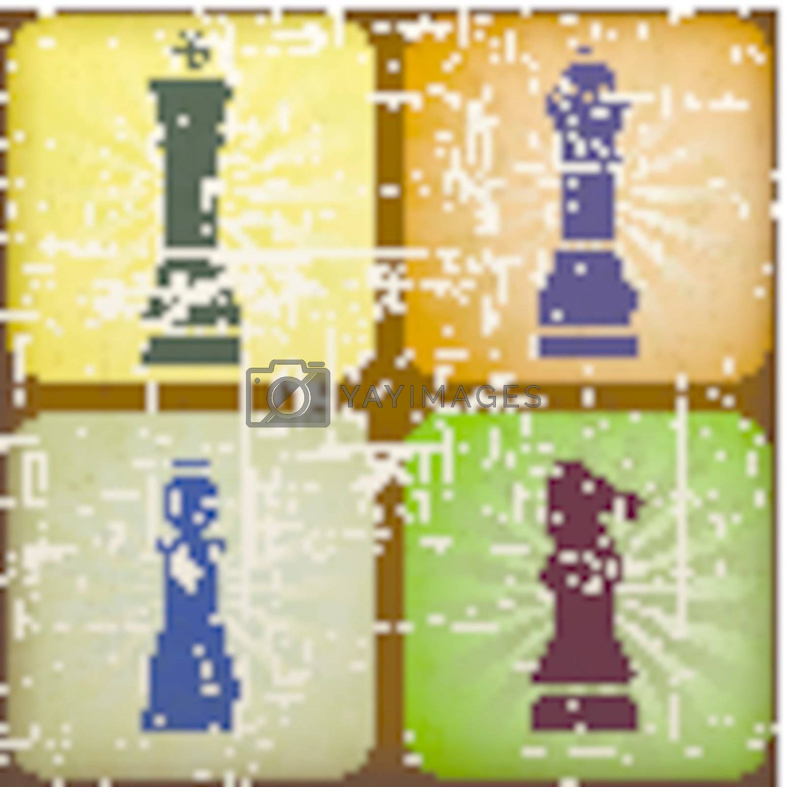 illustration vintage chess with grunge effect