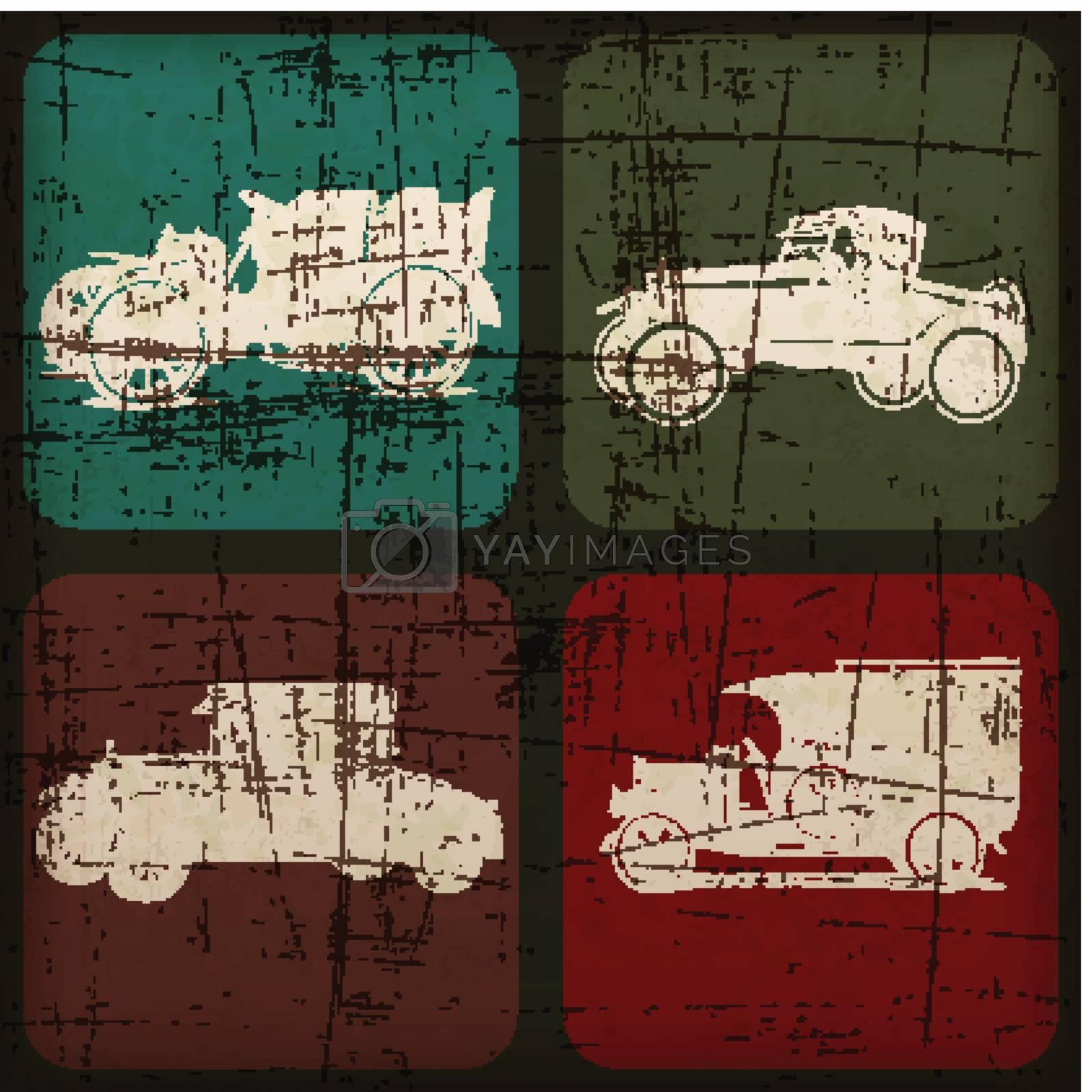 retro car hand drawn banner with Grunge Effect