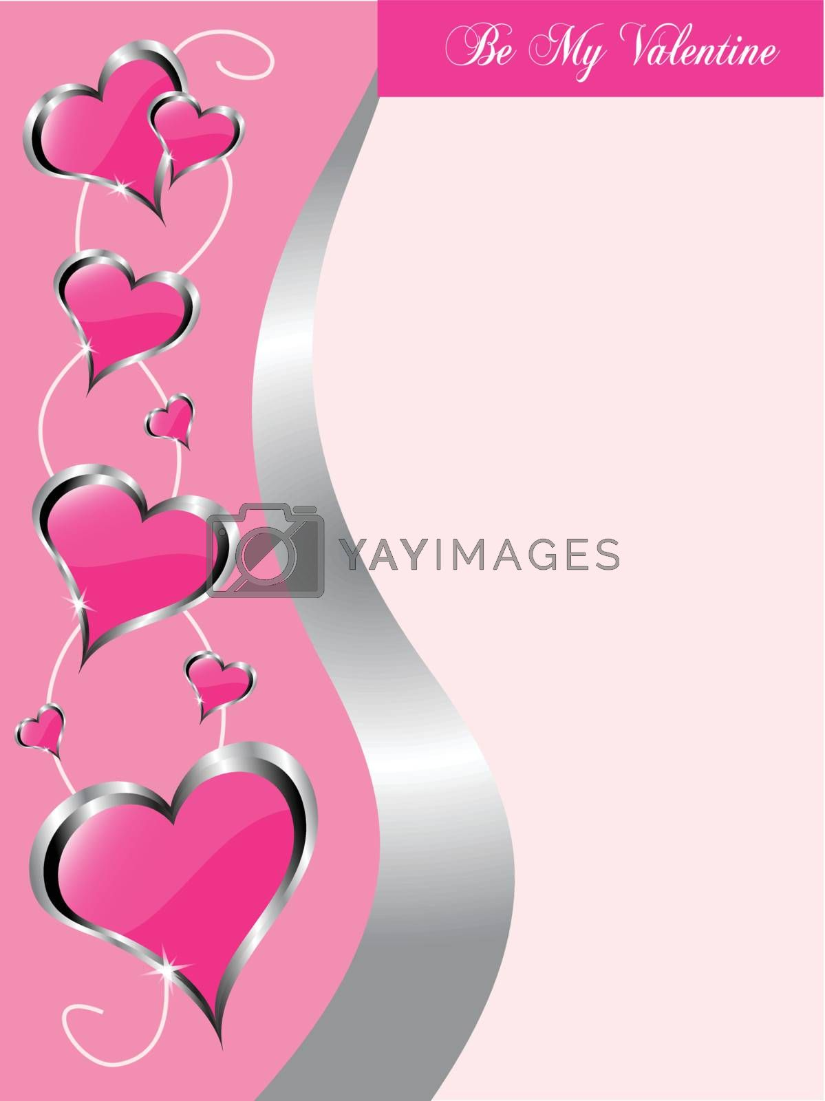 A vector valentines background  with a large hearts on a pink background pattern