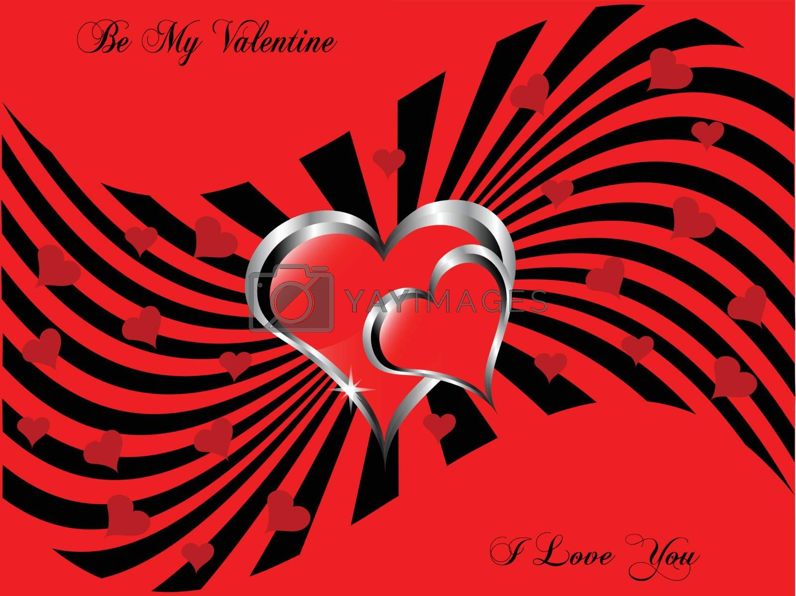 A vector valentines background with a large central hearts on a  red and black pattern
