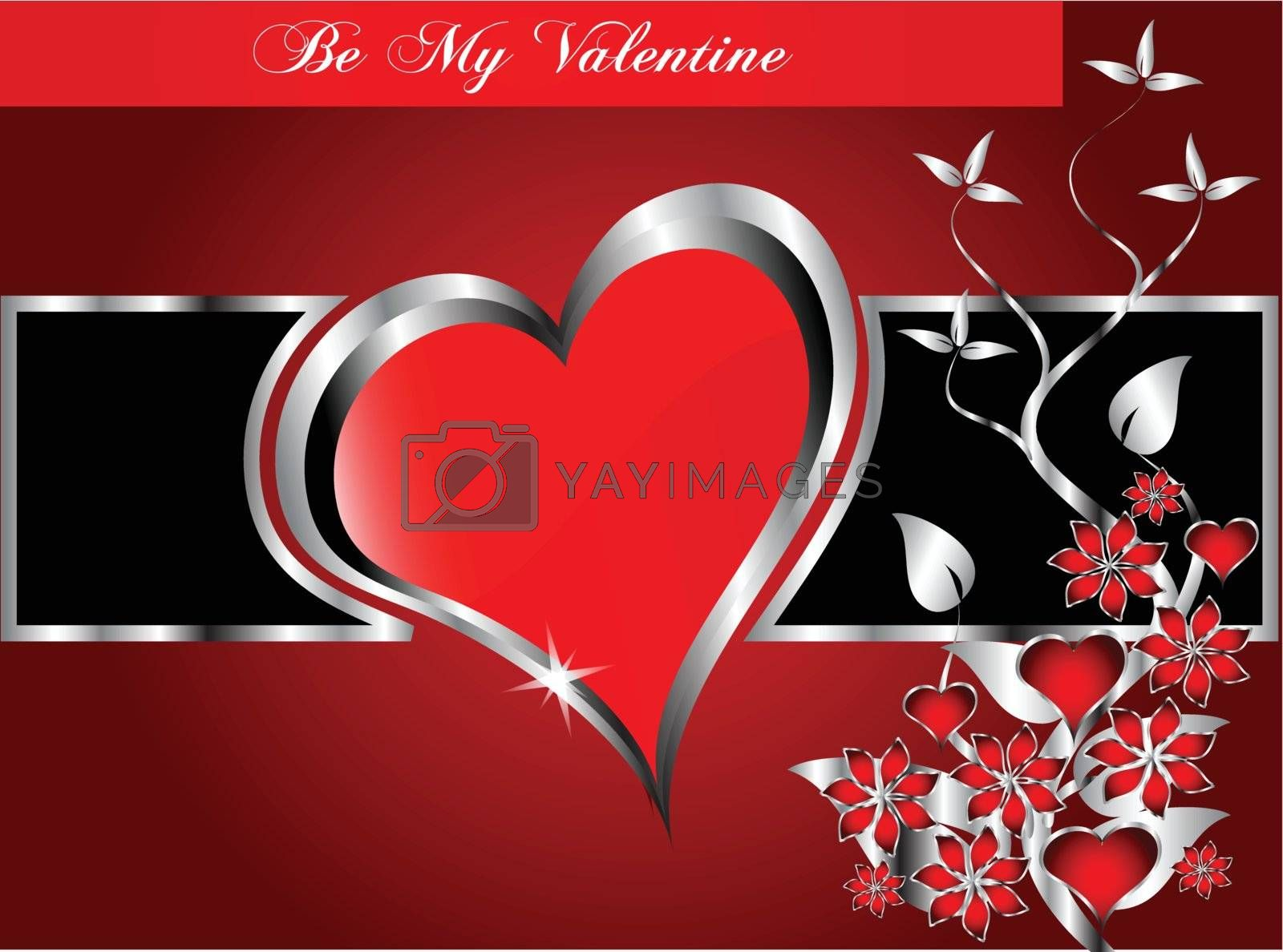 A vector valentines background  large central hearts on a  red and blackl pattern