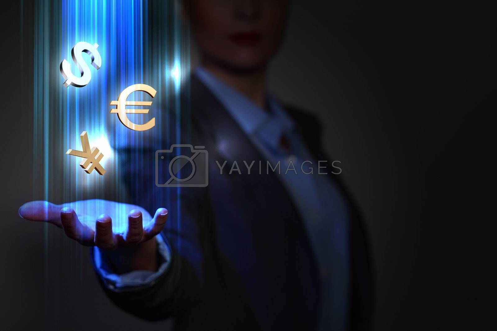 Business woman with financial symbols around by Sergey Nivens