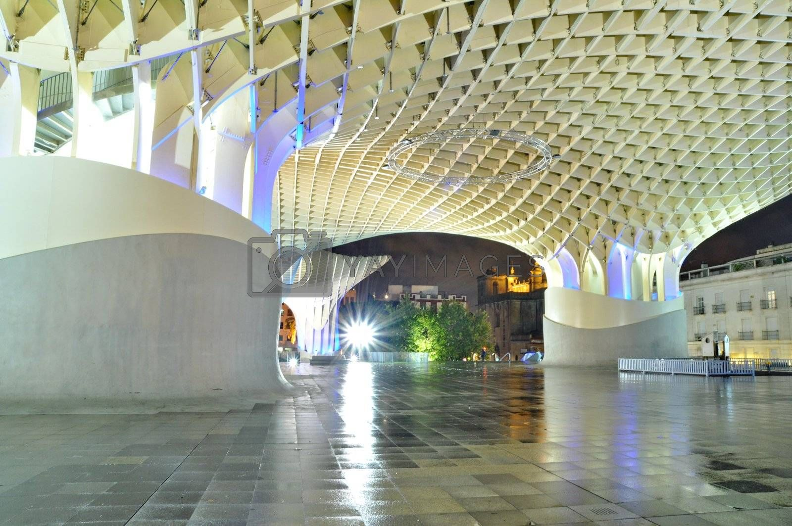 SEVILLA,SPAIN -SEPTEMBER 27: Metropol Parasol in Plaza de la Encarnacion on September 27, 2012 in Sevilla,Spain. J. Mayer H. architects, it is made from bonded timber with a polyurethane coating.