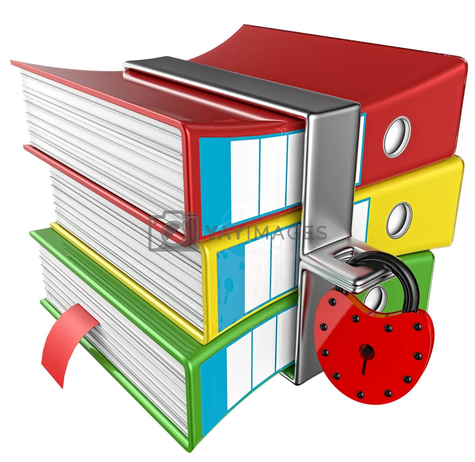 three colored folders with red hinged lock, stores important information