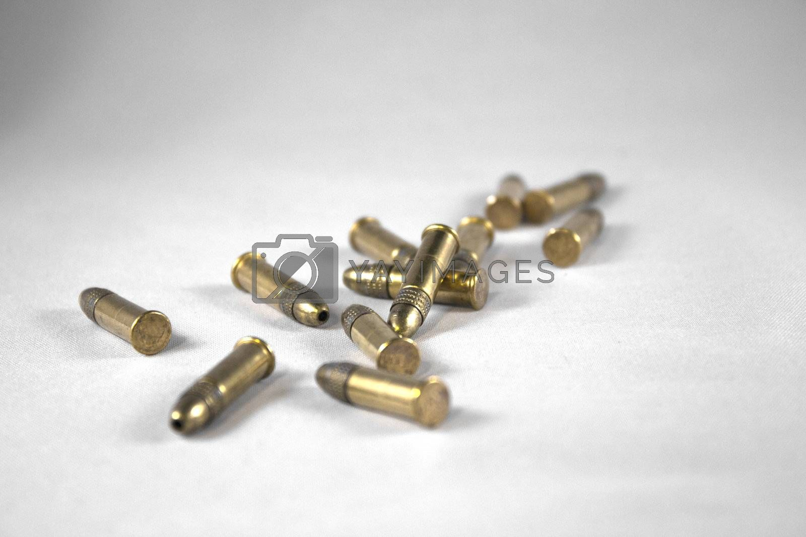 a bunch of bullets isolated on white
