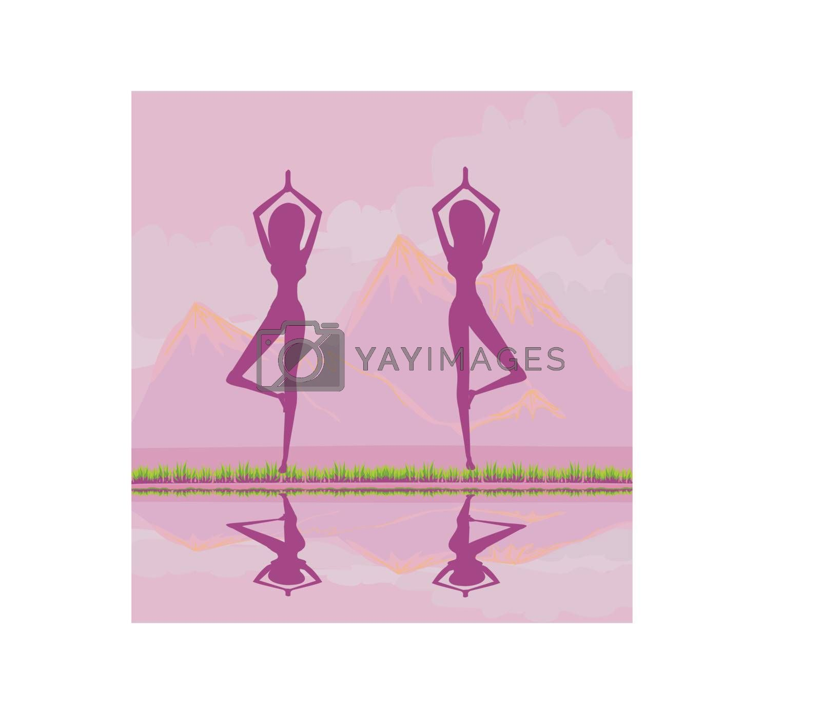 women in a traditional yoga pose vector illustration