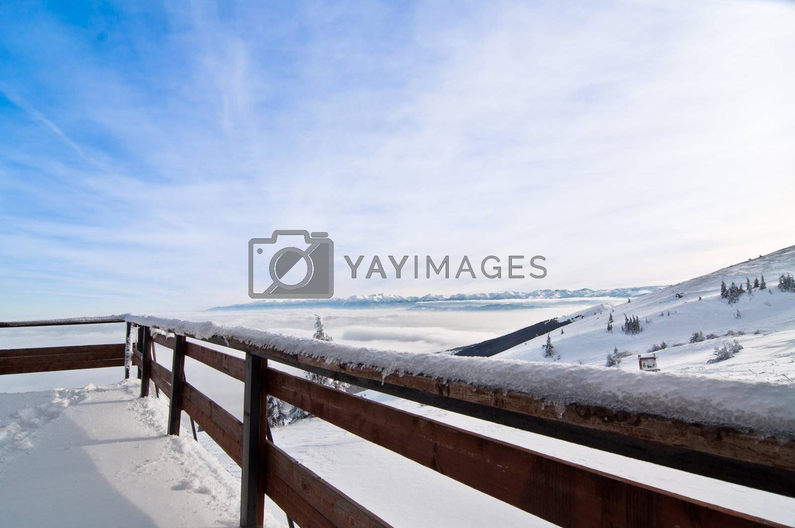 Winter time, mountain background