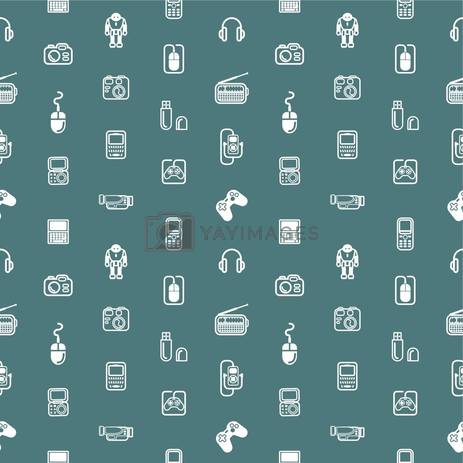 A repeating seamless gadgets and technology background tile texture with lots of different tech and gadget icons