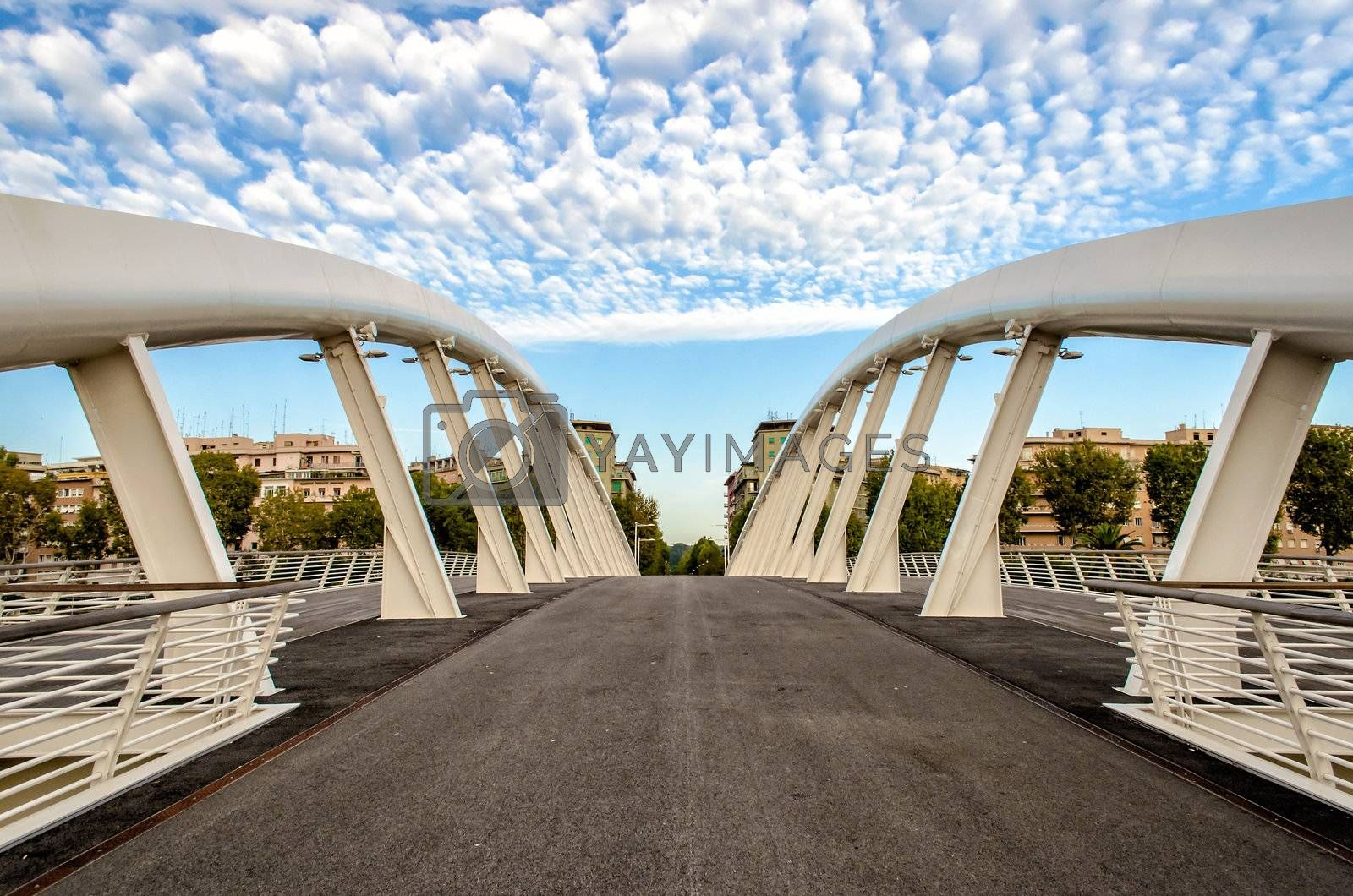 Ponte della Musica, a modern bridge in the heart of Rome, Italy