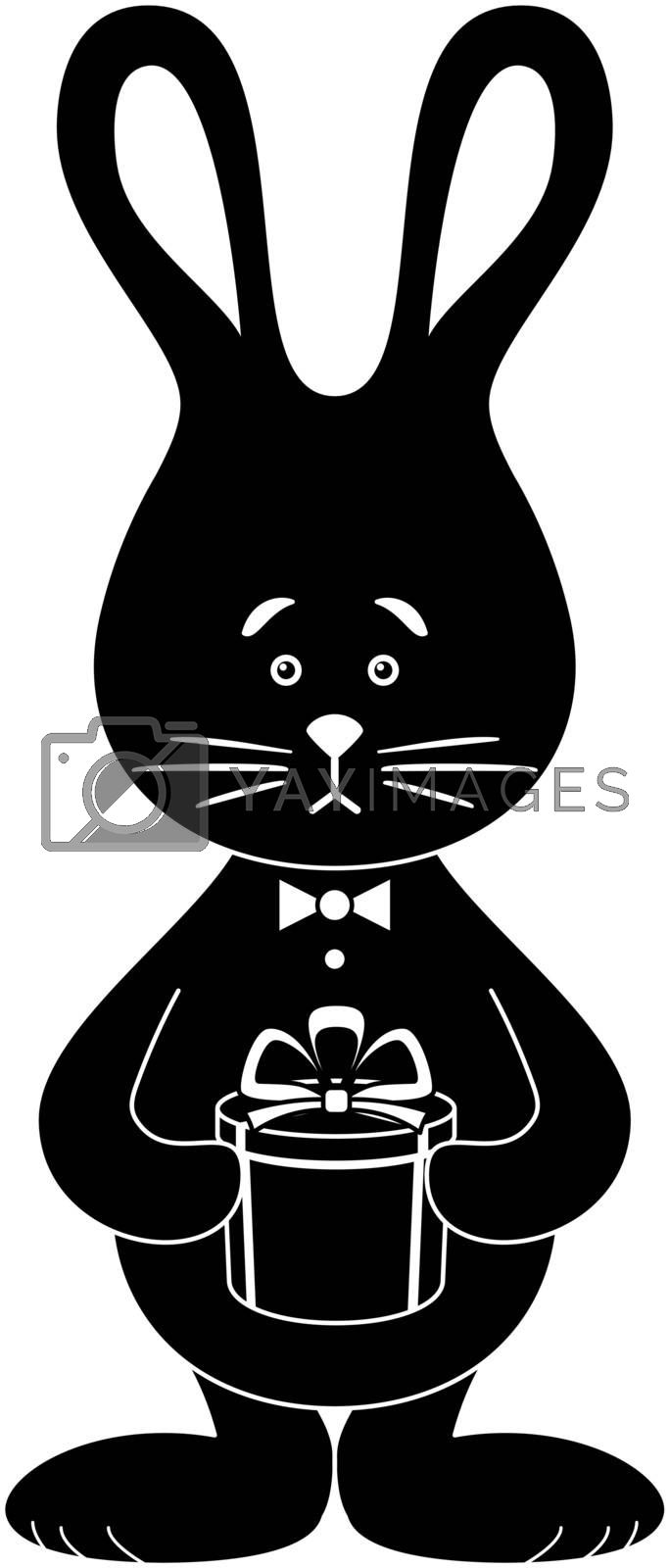 Holiday cartoon, toy rabbit with a gift box, black silhouette on white background. Vector