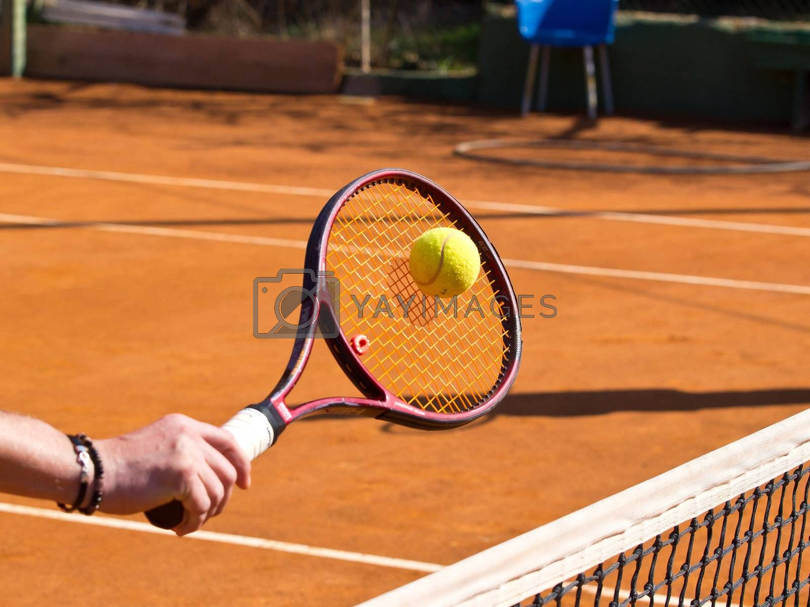 tennis racquet and the ball