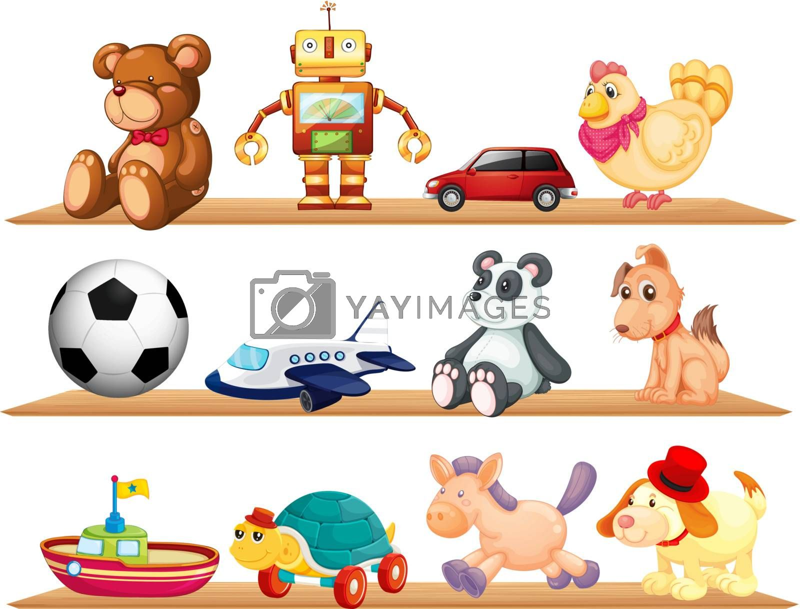 Vector showing a set of toys