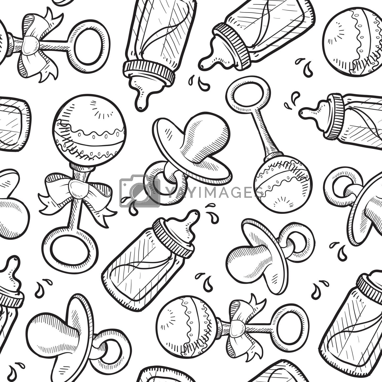 Doodle style and infant objects seamless vector background ready to be tiled. Includes rattle, pacifier, and bottle.