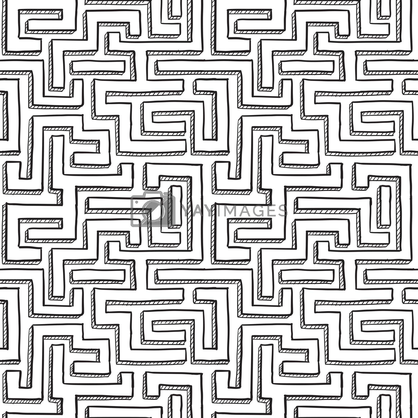 Doodle style seamless maze background illustration in vector format.