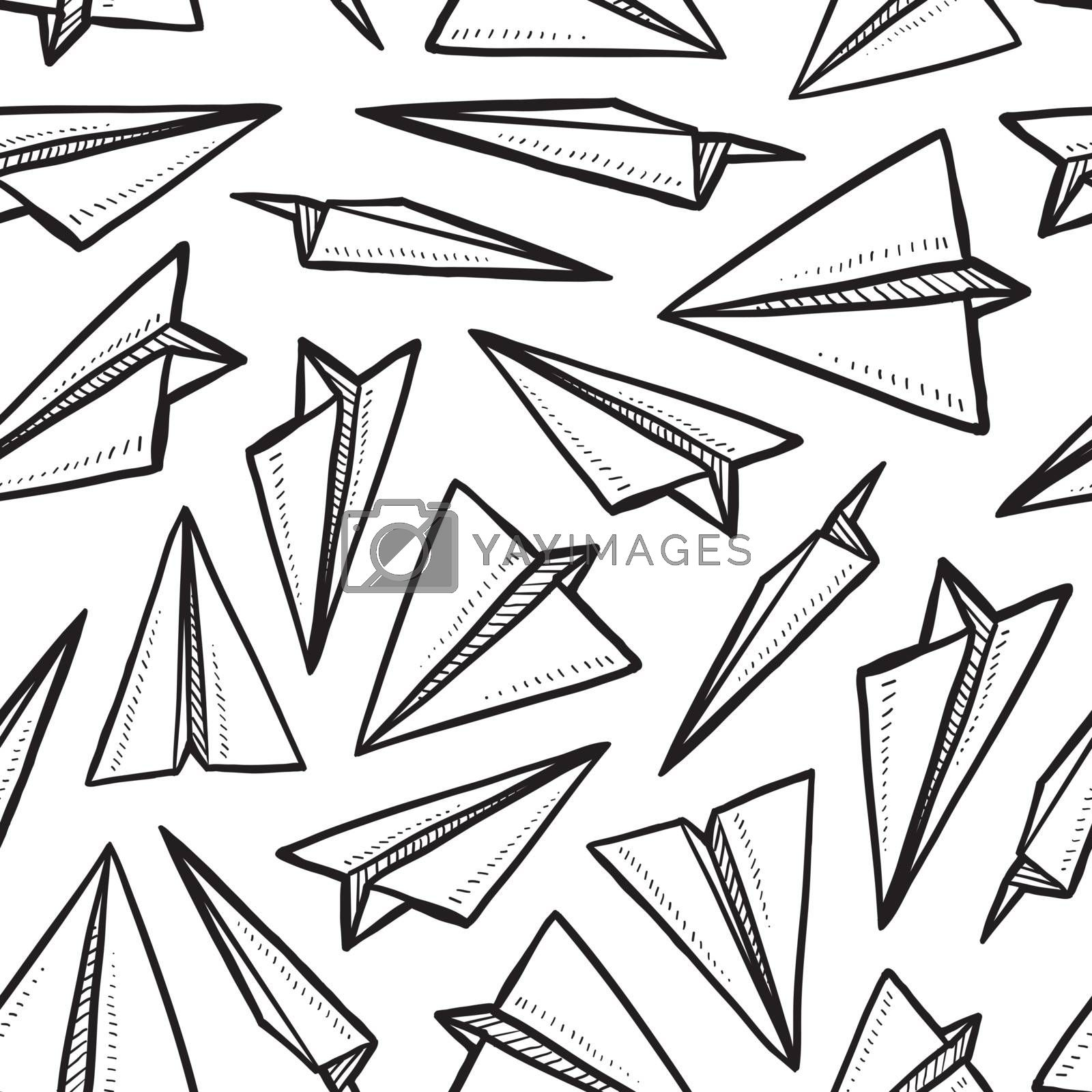 Doodle style seamless paper airplane background illustration in vector format.