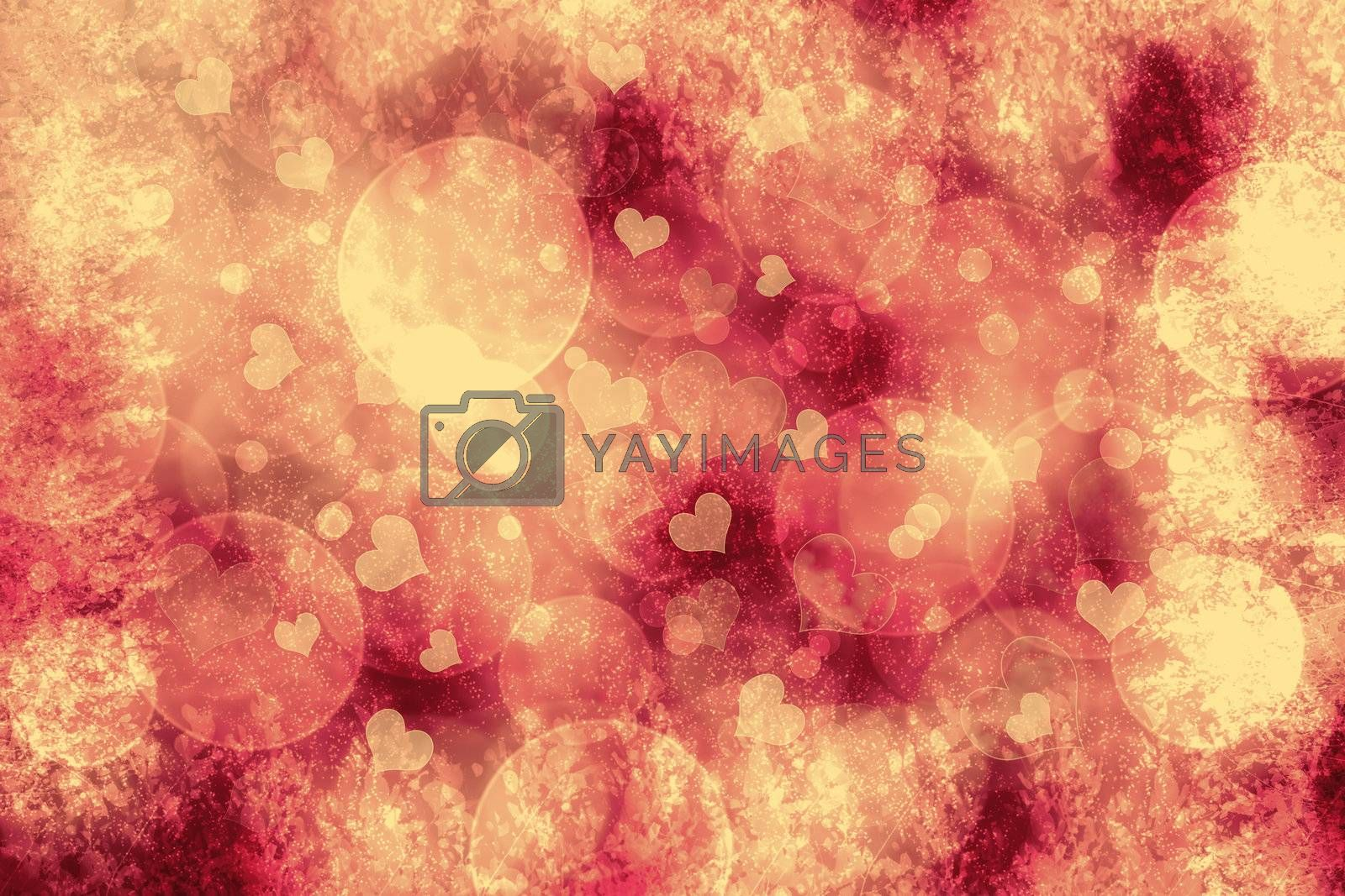 Valentine heart shaped bokeh lights background