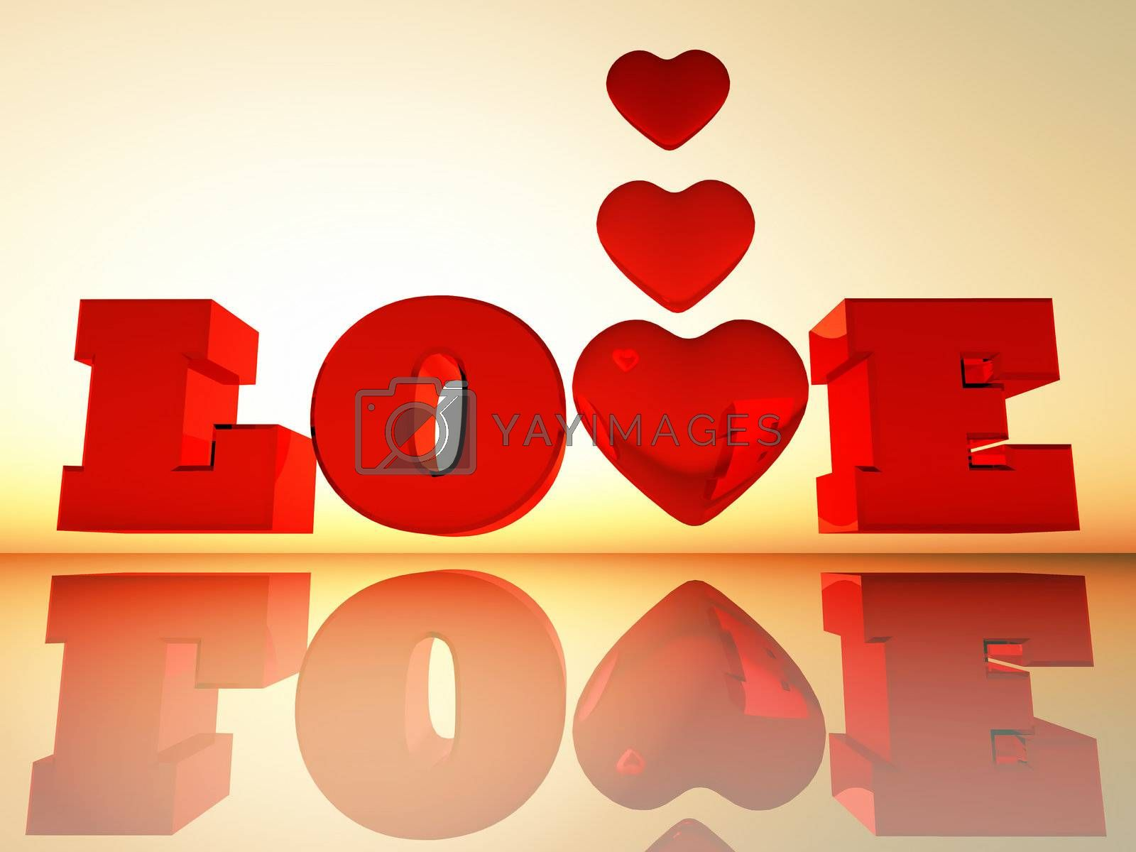 the word love in 3D letters