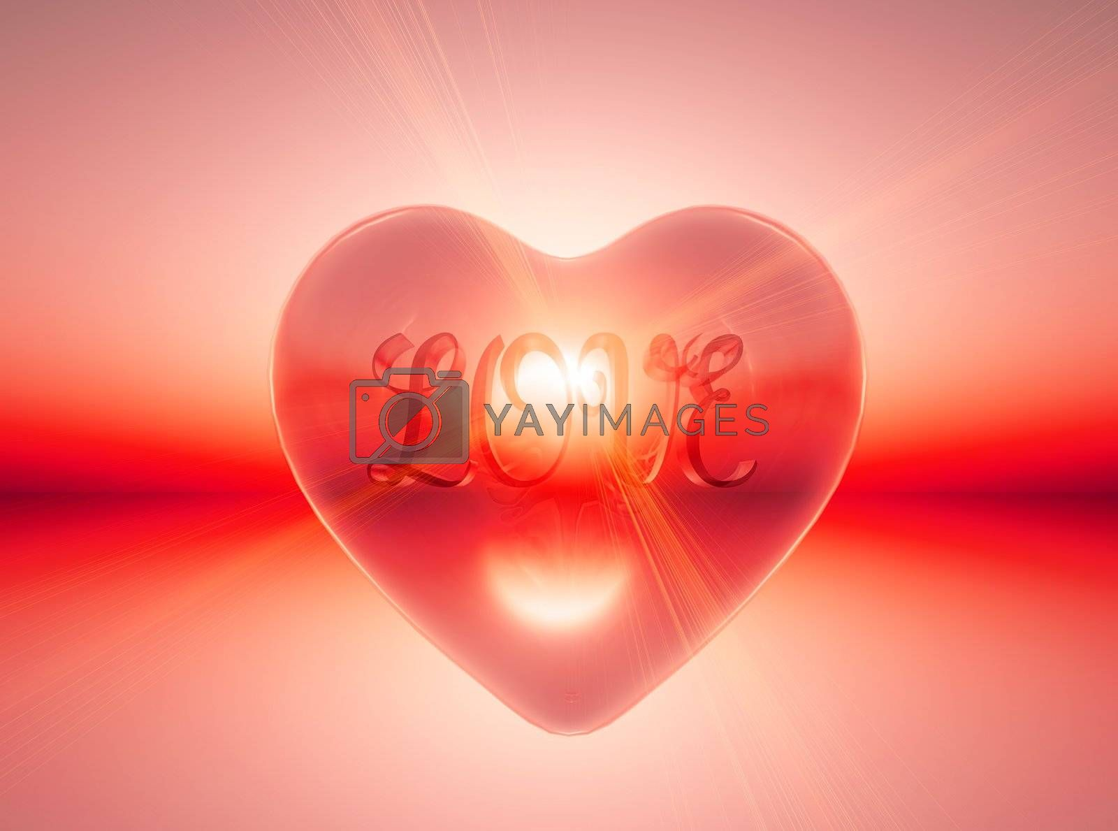 The word love inside a transparent heart with sunlight in the background