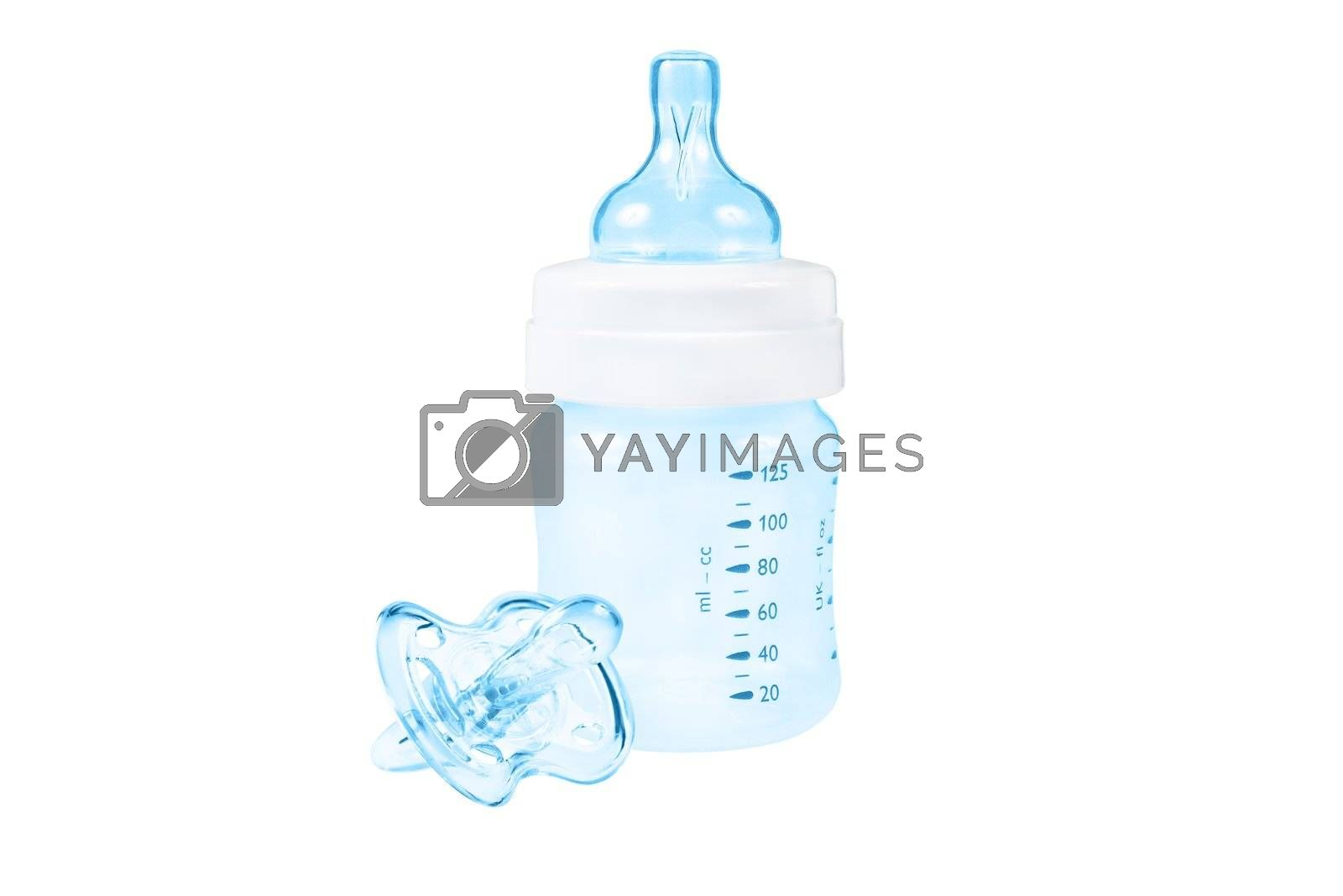 Baby bottle and pacifier. Blue color. Isolated.