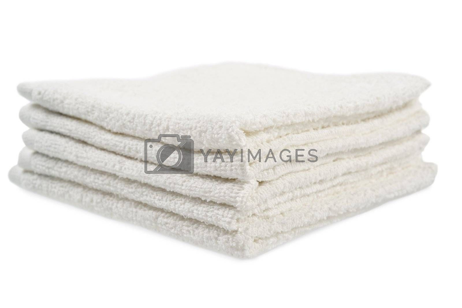 Stack of towels. Isolated on white background