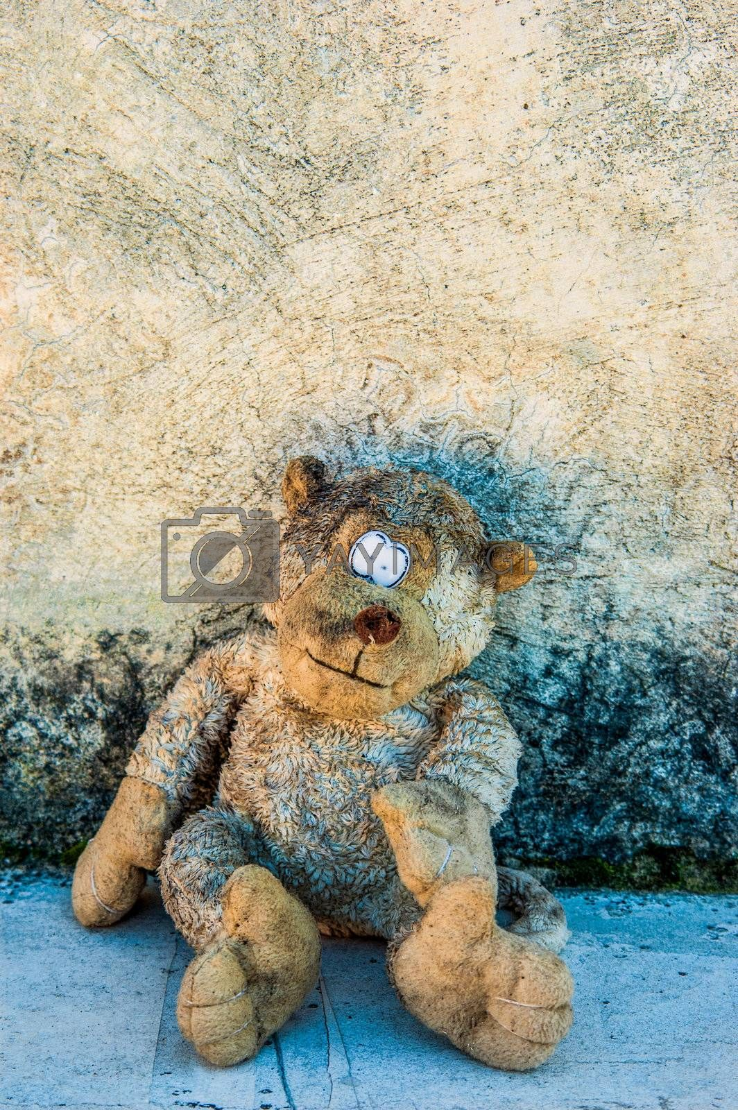 A dirty and old teddy bear against a grunge wall