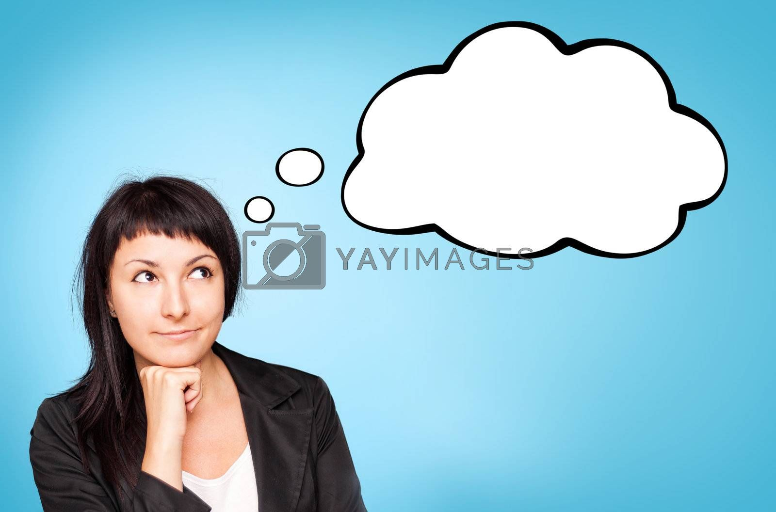 Beautiful young businesswoman think about. Blue background.