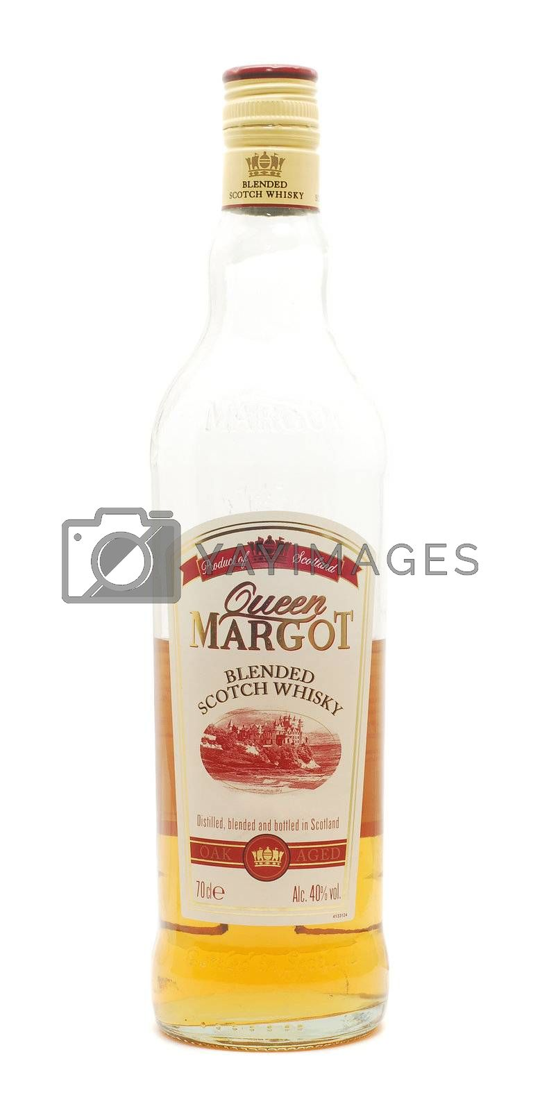 Caransebes, Romania, September 15, 2012 - Queen Margot scotch whisky bottle isolated on white