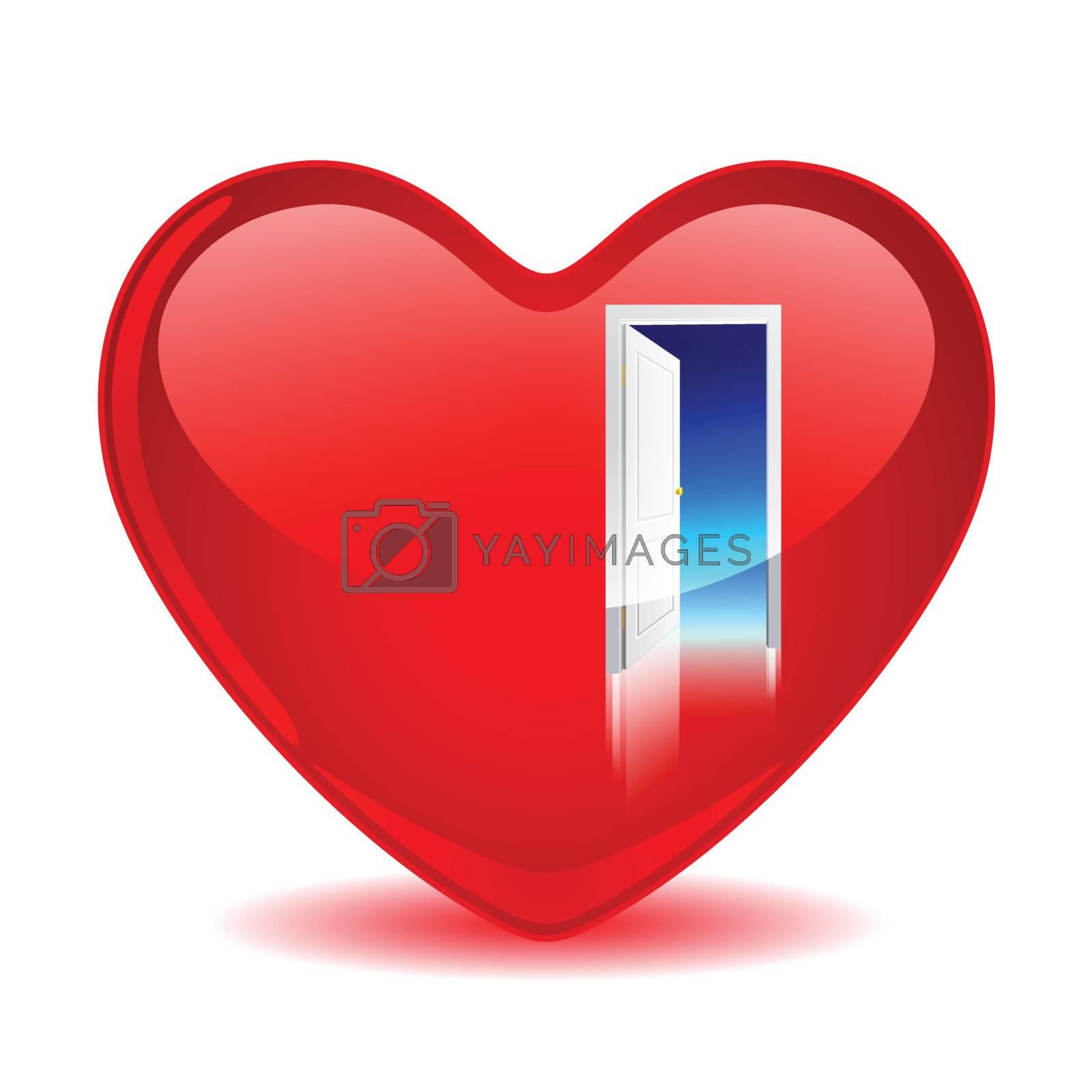 Red heart with an open door