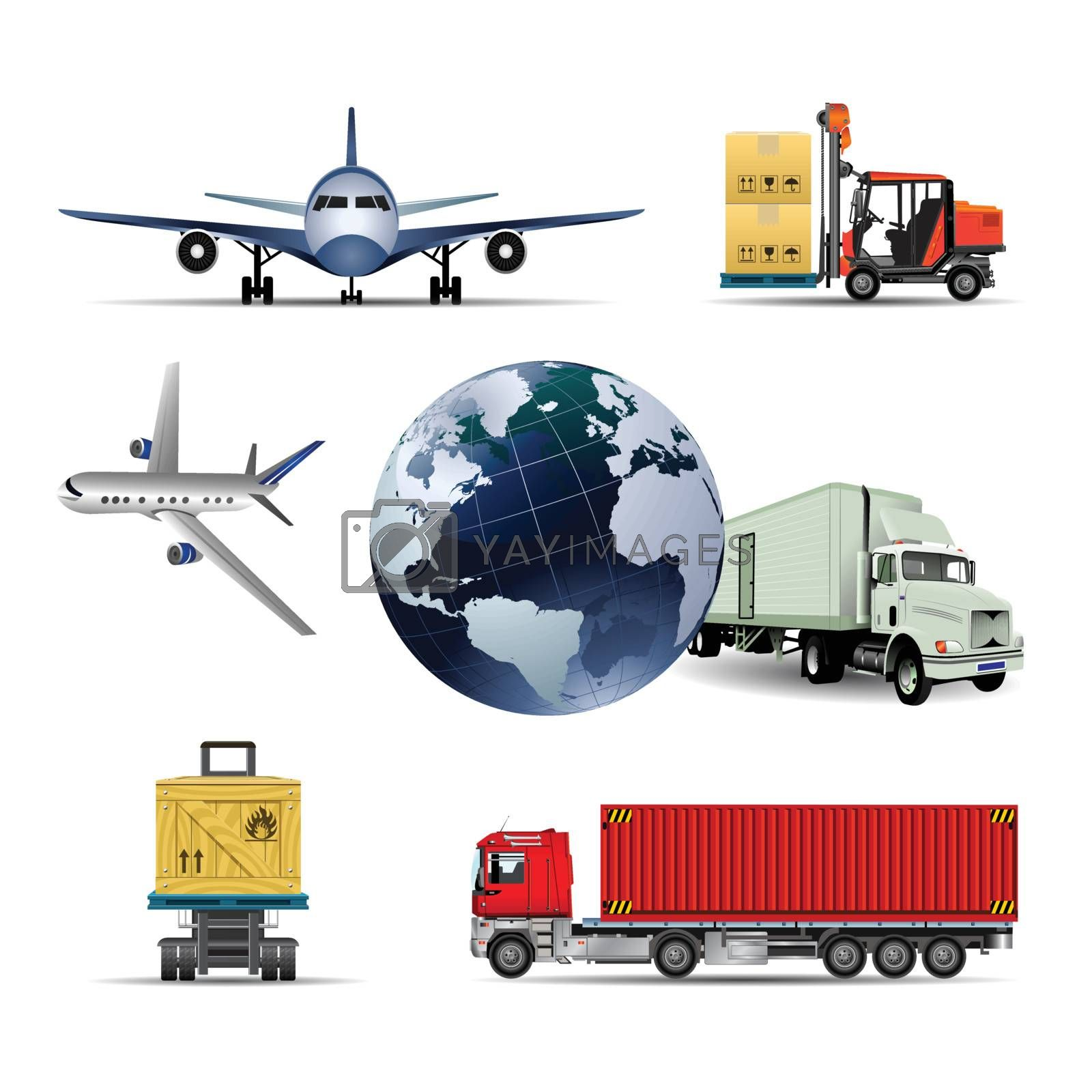 shipping box with truck, airplane and world international