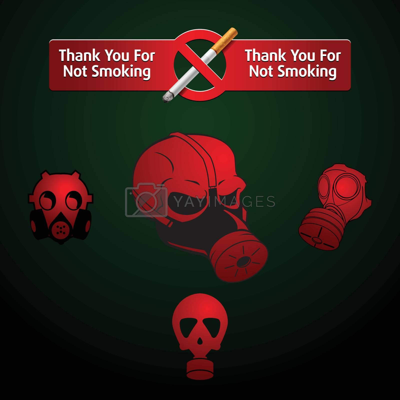 no Smoking mark and gas masks
