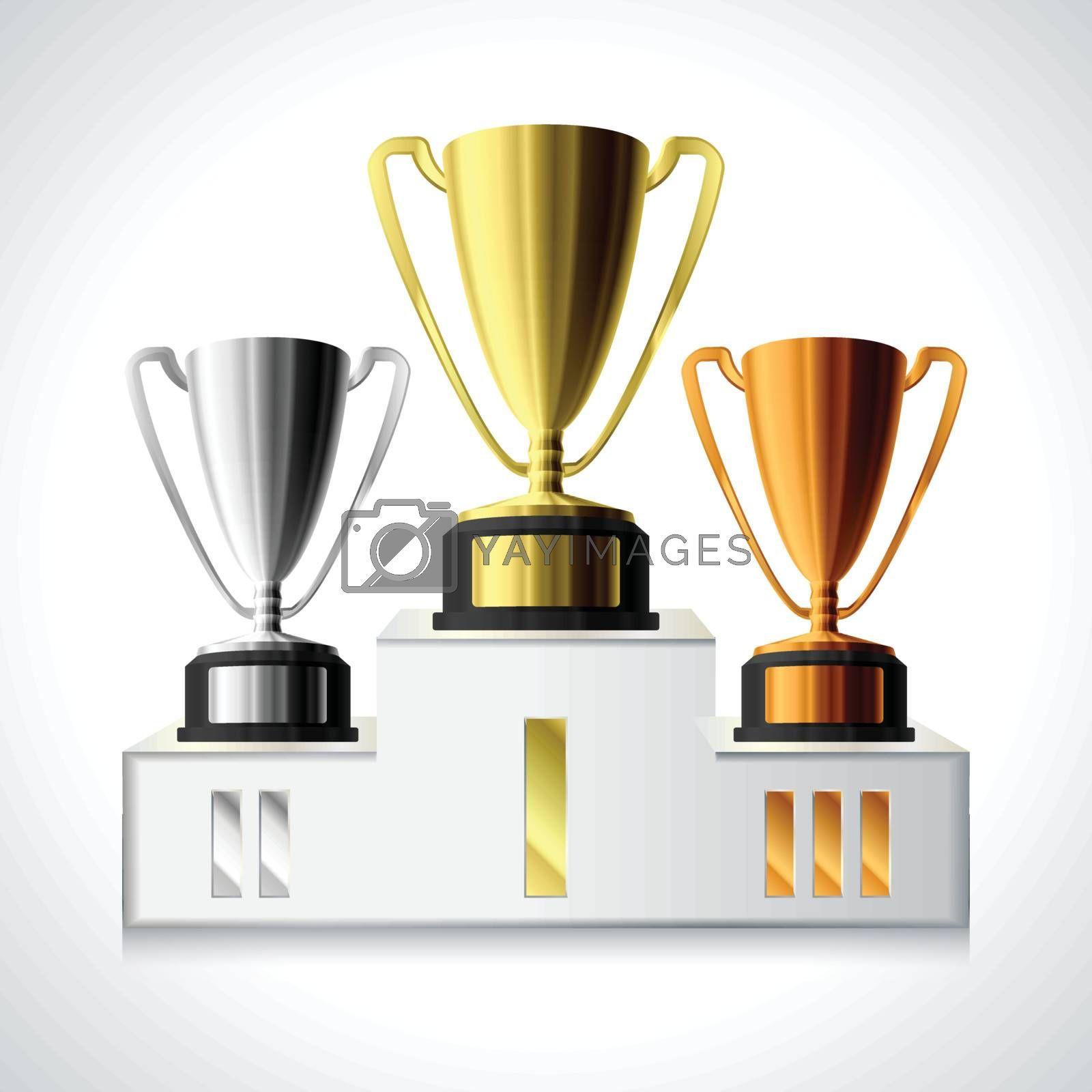 Gold, silver and bronze trophy cups on pedestal isolated