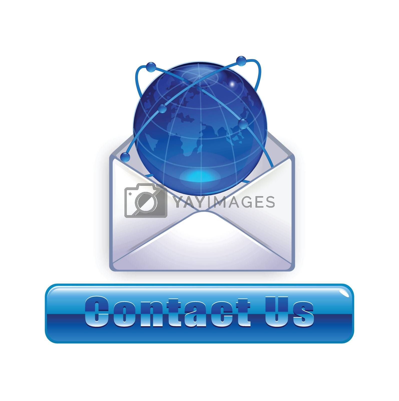 E-mail icon envelope and glass globe