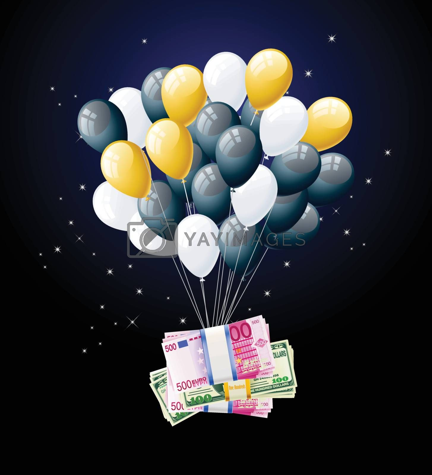 money tied to balloon and floating