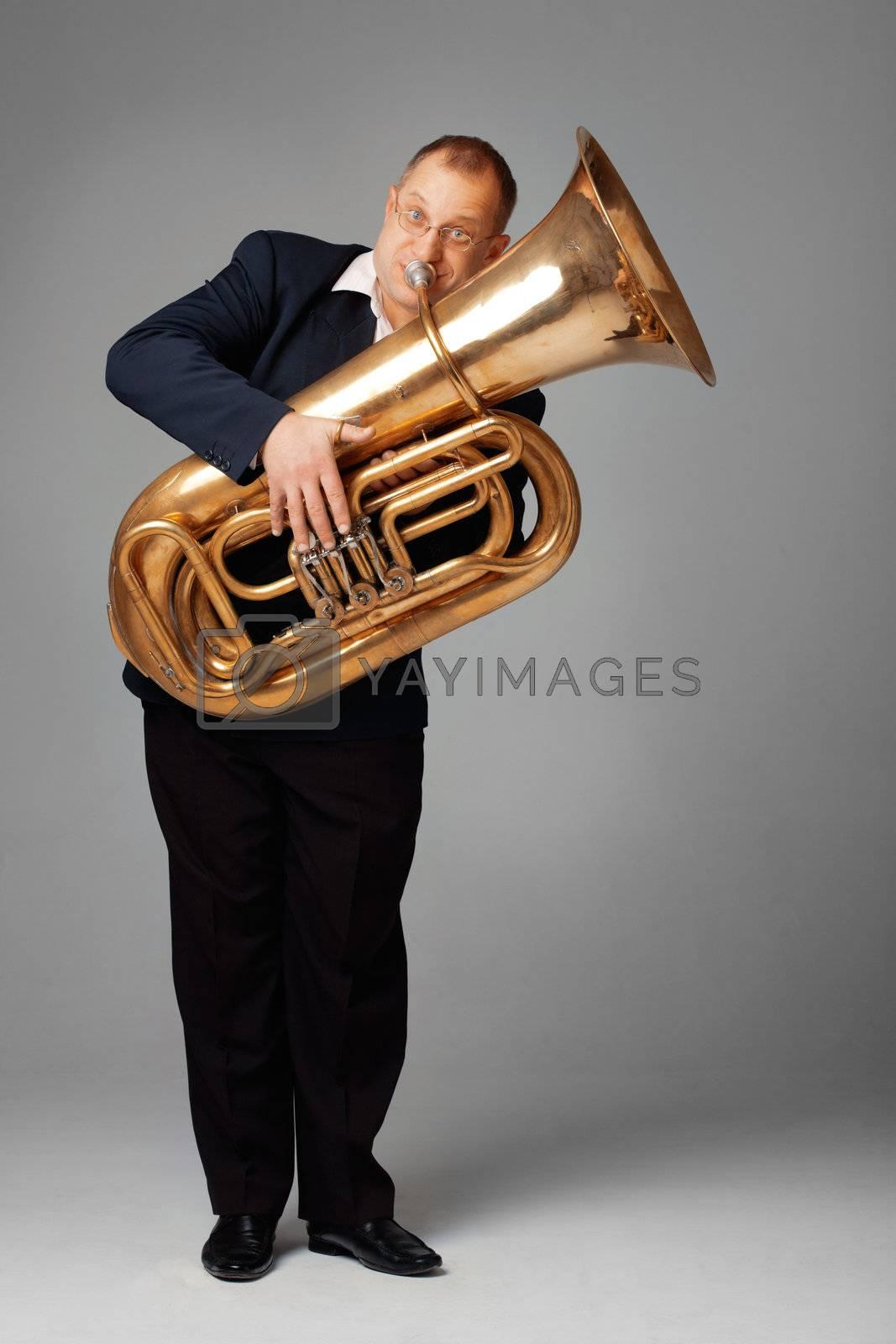 Musician playing the tuba