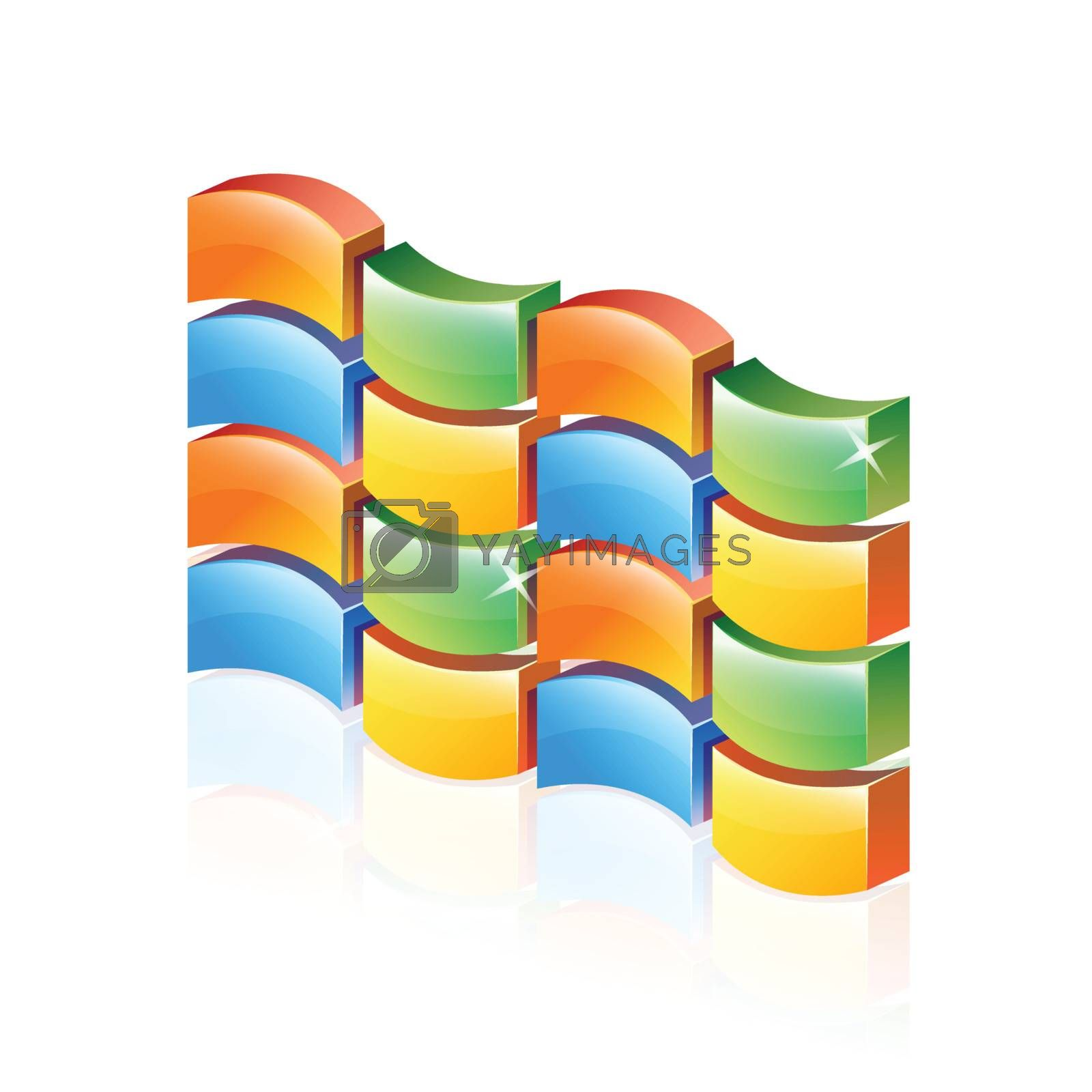Abstract 3d Colorful firewall by nirots