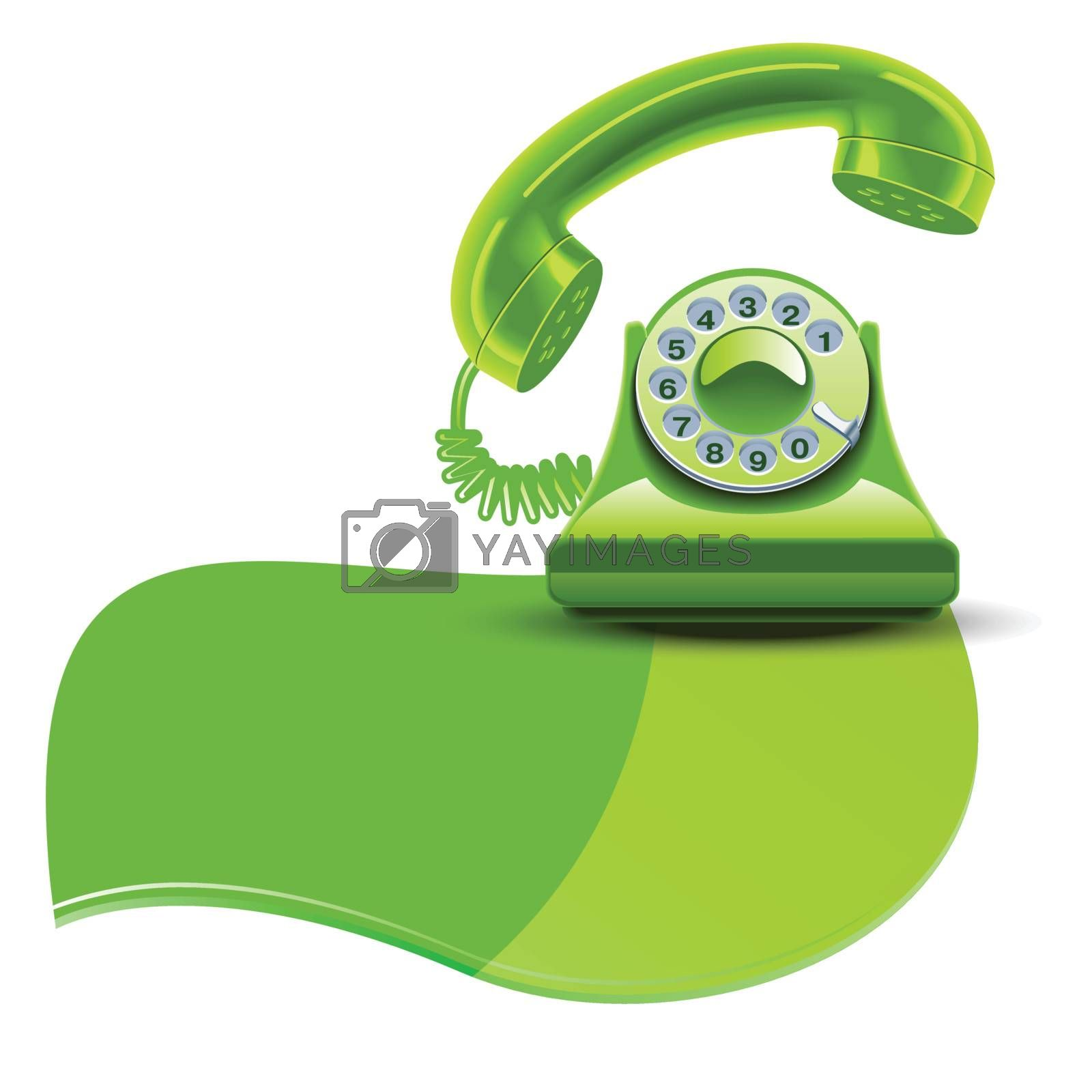 Green brilliant phone Isolated white background by nirots