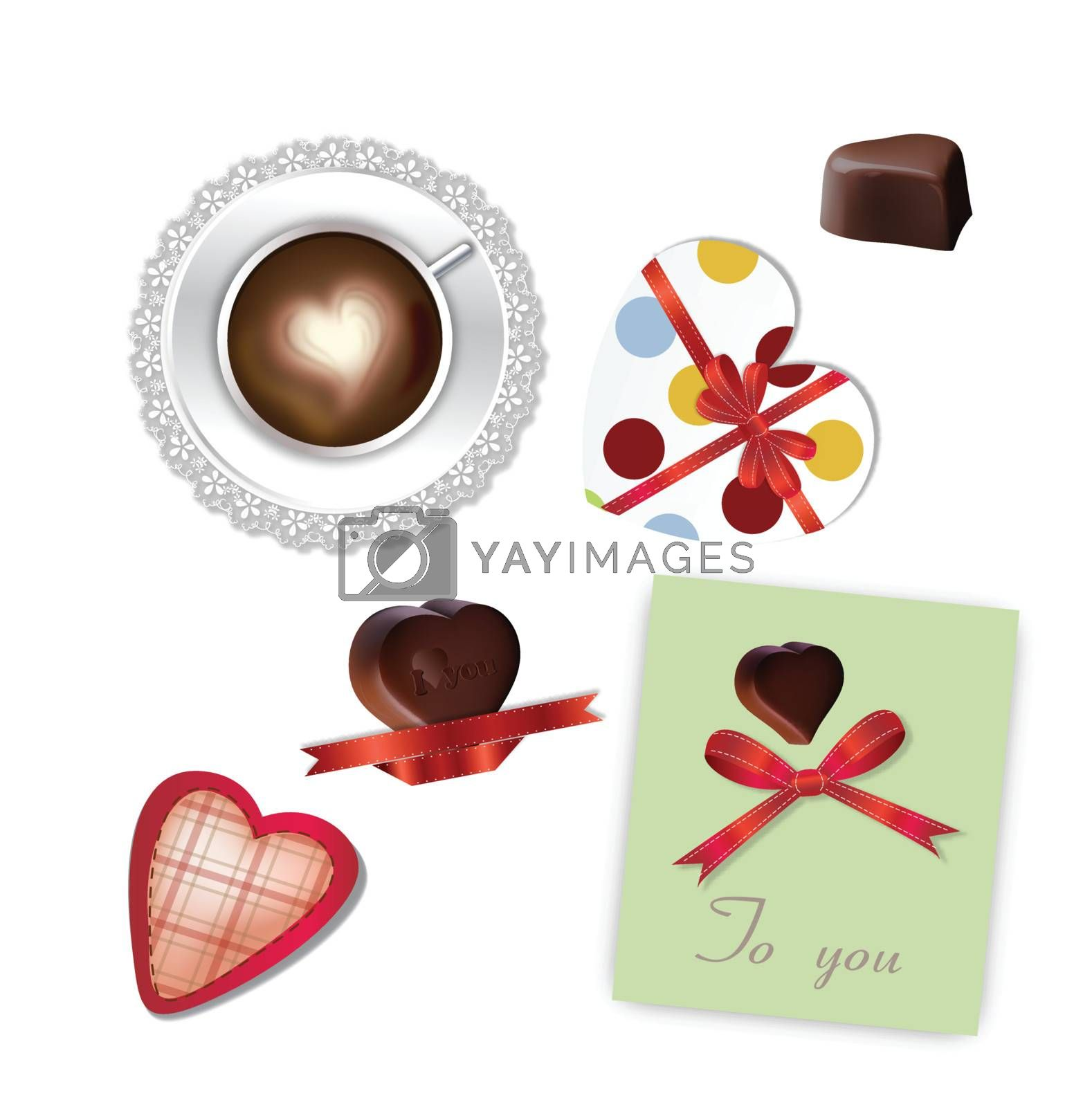 Cup Of Coffee With Heart and love chocolate set