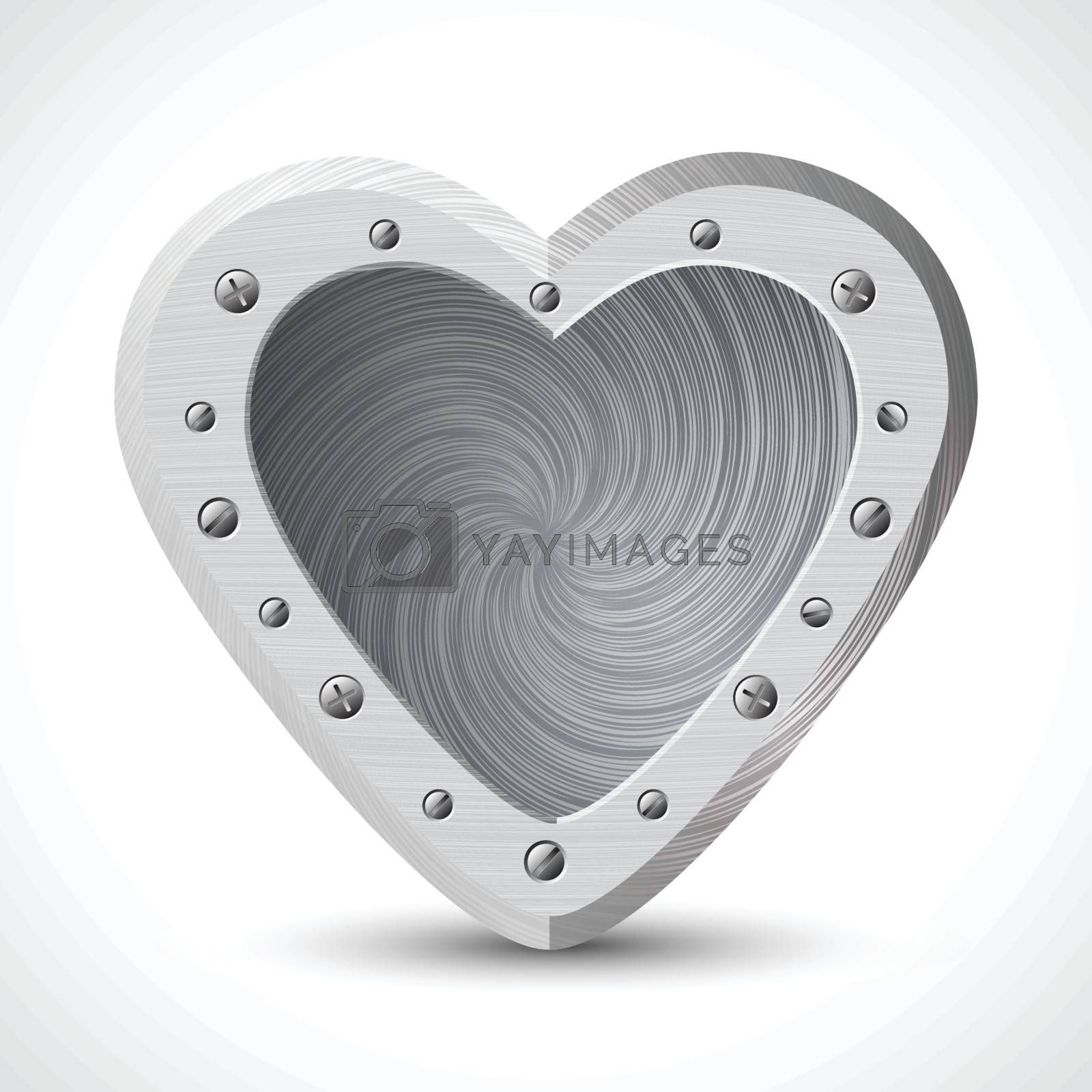 Iron heart on Isolated white background by nirots