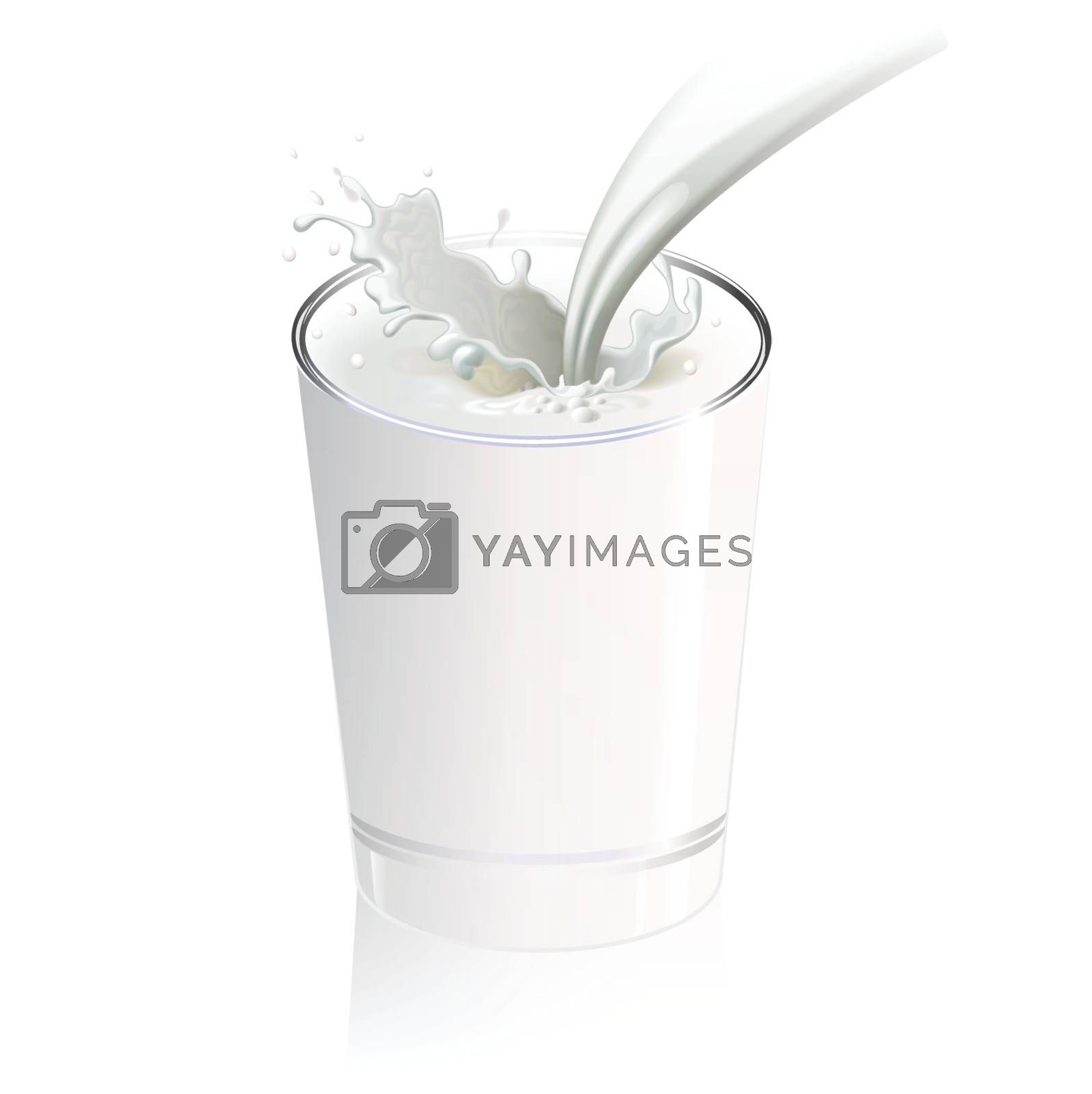 Fresh milk pouring into a glass splash, isolated on white by nirots