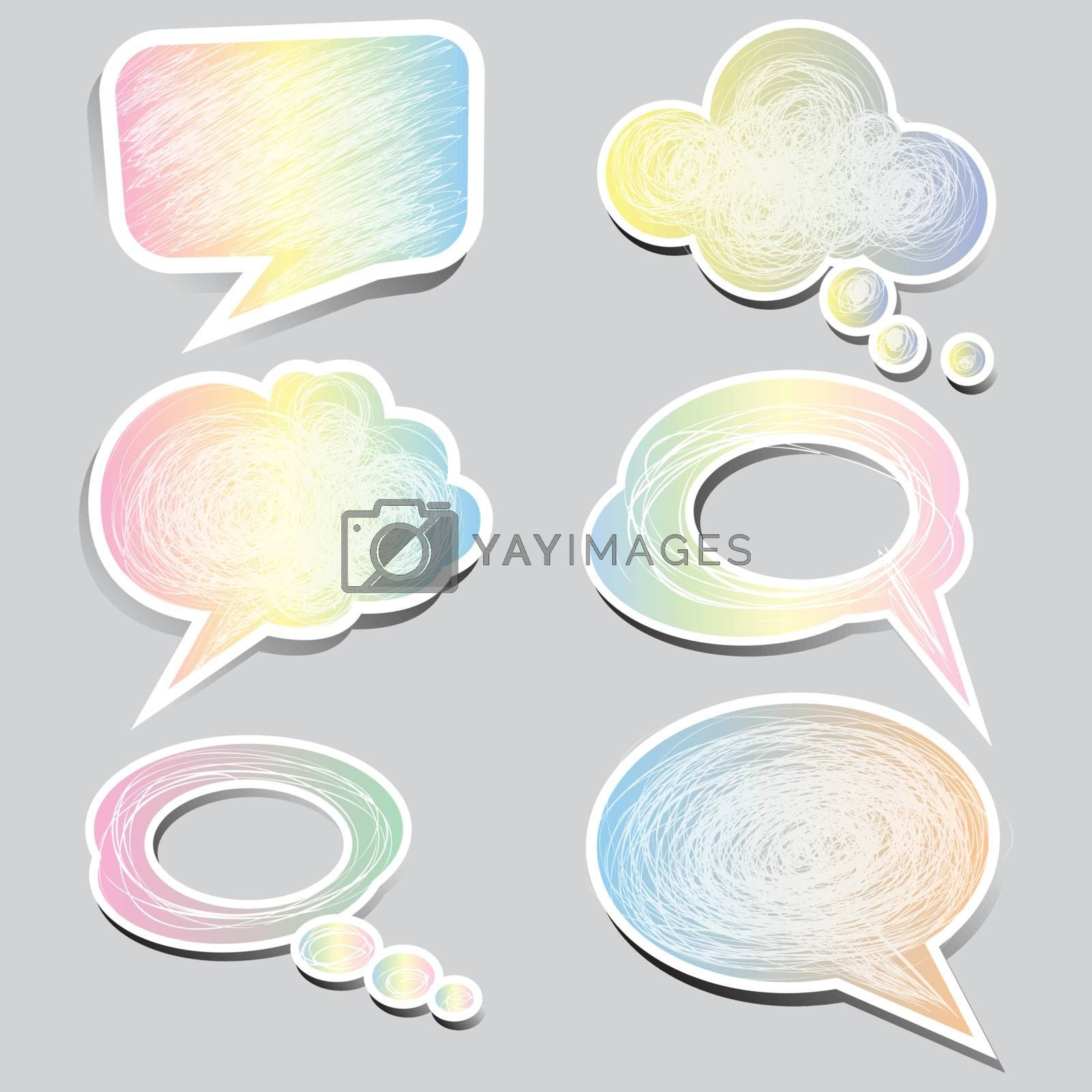 pastel color speech bubbles and dialog balloons set by nirots