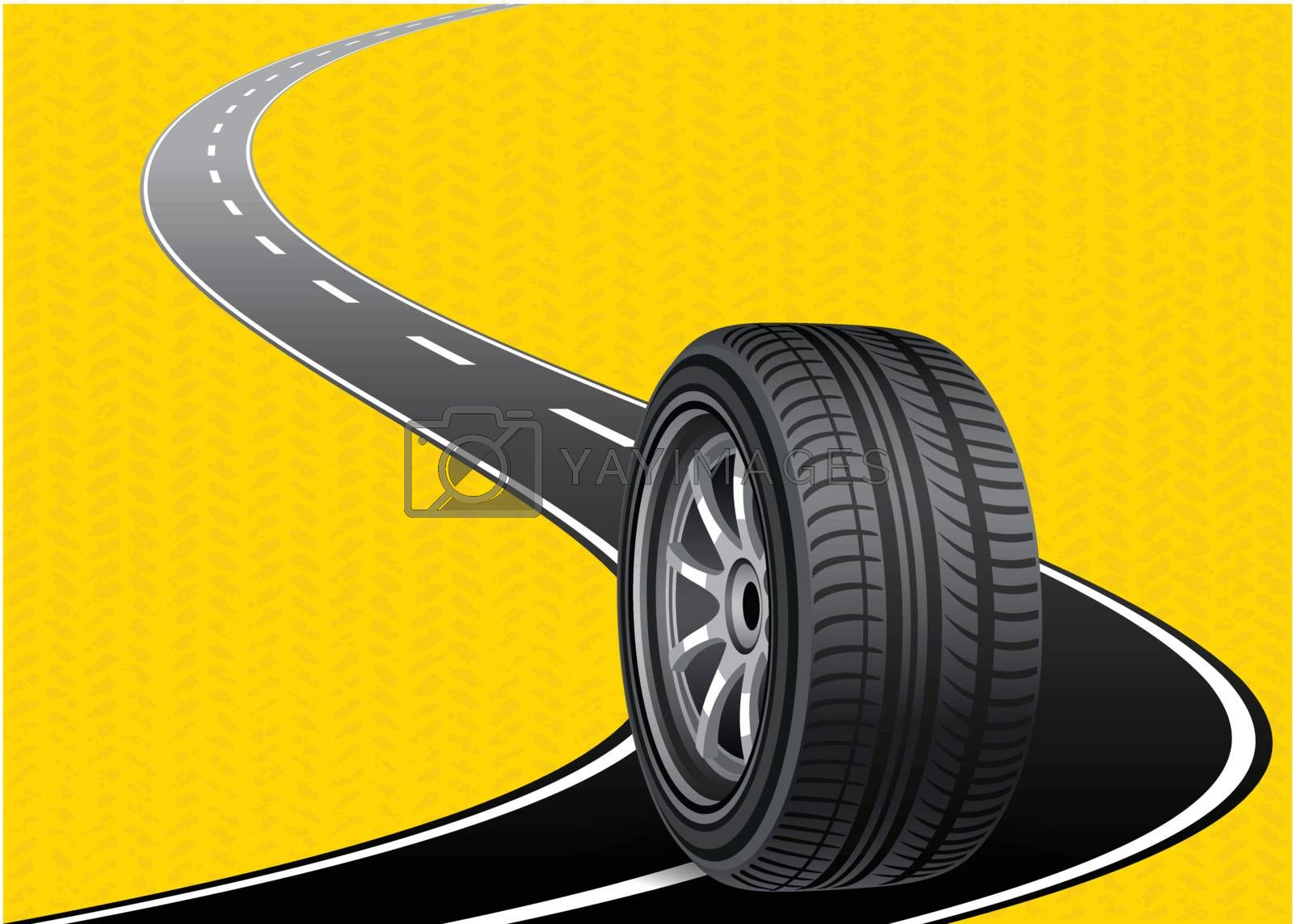 automobile tire on the road curved with yellow blackground by nirots